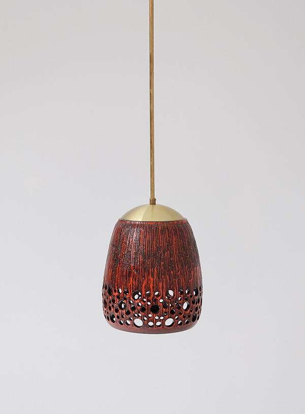 RED GLAZE CERAMIC HANGING LAMPimage 4