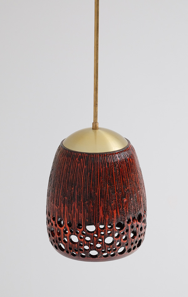 RED GLAZE CERAMIC HANGING LAMPimage 2