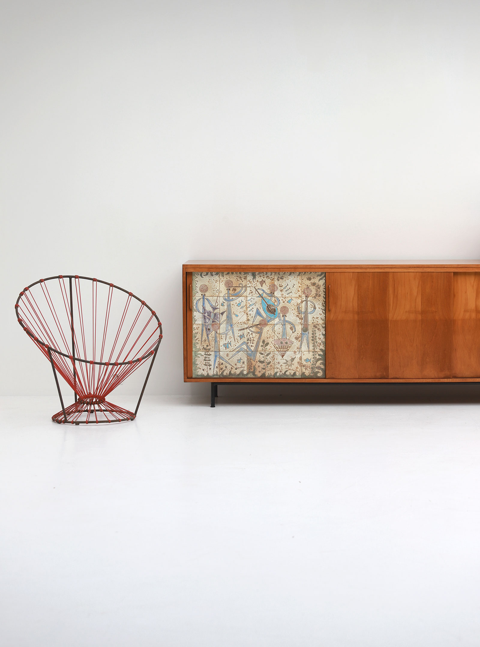 Sideboard with Ceramic Tiles Charles-Emile Pinson 1958image 2