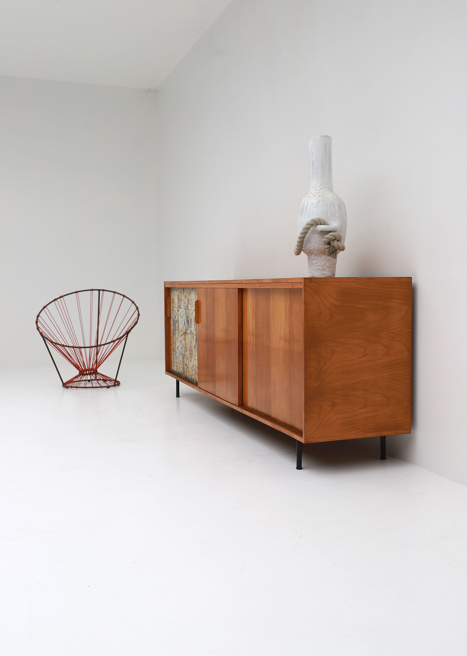 Sideboard with Ceramic Tiles Charles-Emile Pinson 1958image 8