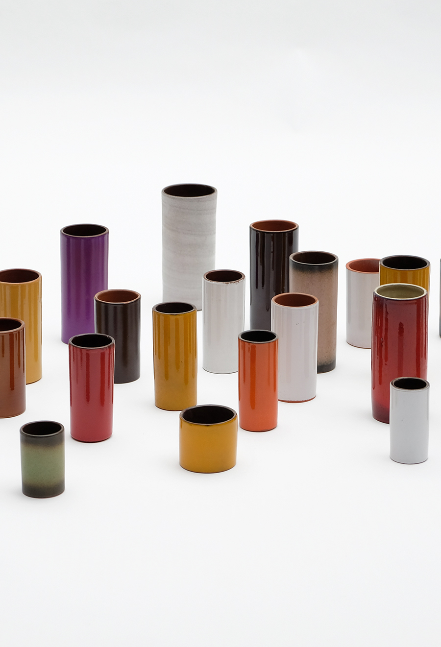 Ceramic cylindrical vases 1960s