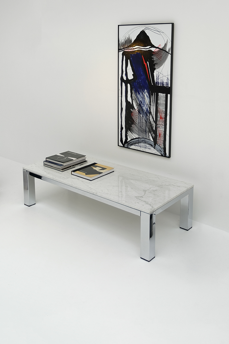 CHROME AND MARBLE COFFEE TABLE 1970simage 2