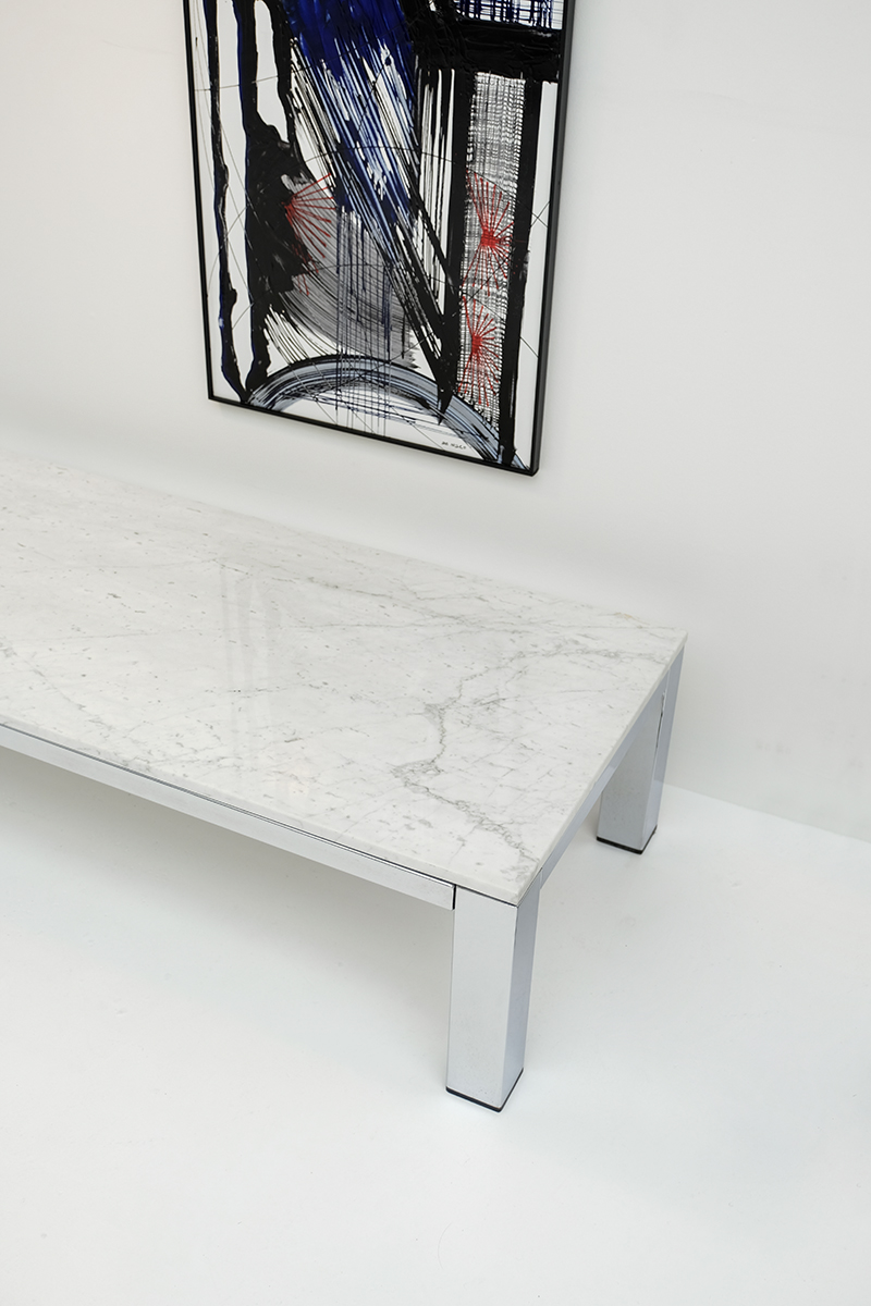 CHROME AND MARBLE COFFEE TABLE 1970s