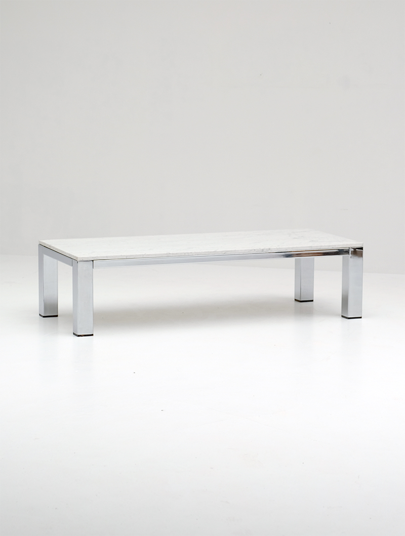 CHROME AND MARBLE COFFEE TABLE 1970simage 5