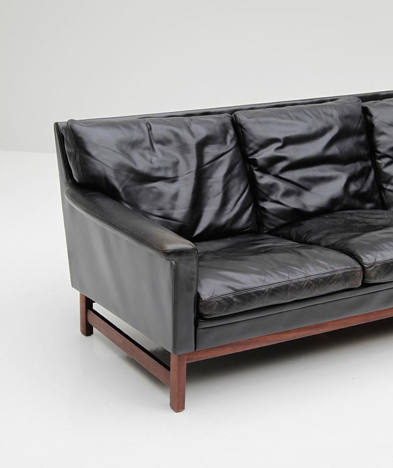 Danish Modern Black Leather Sofa  image 2