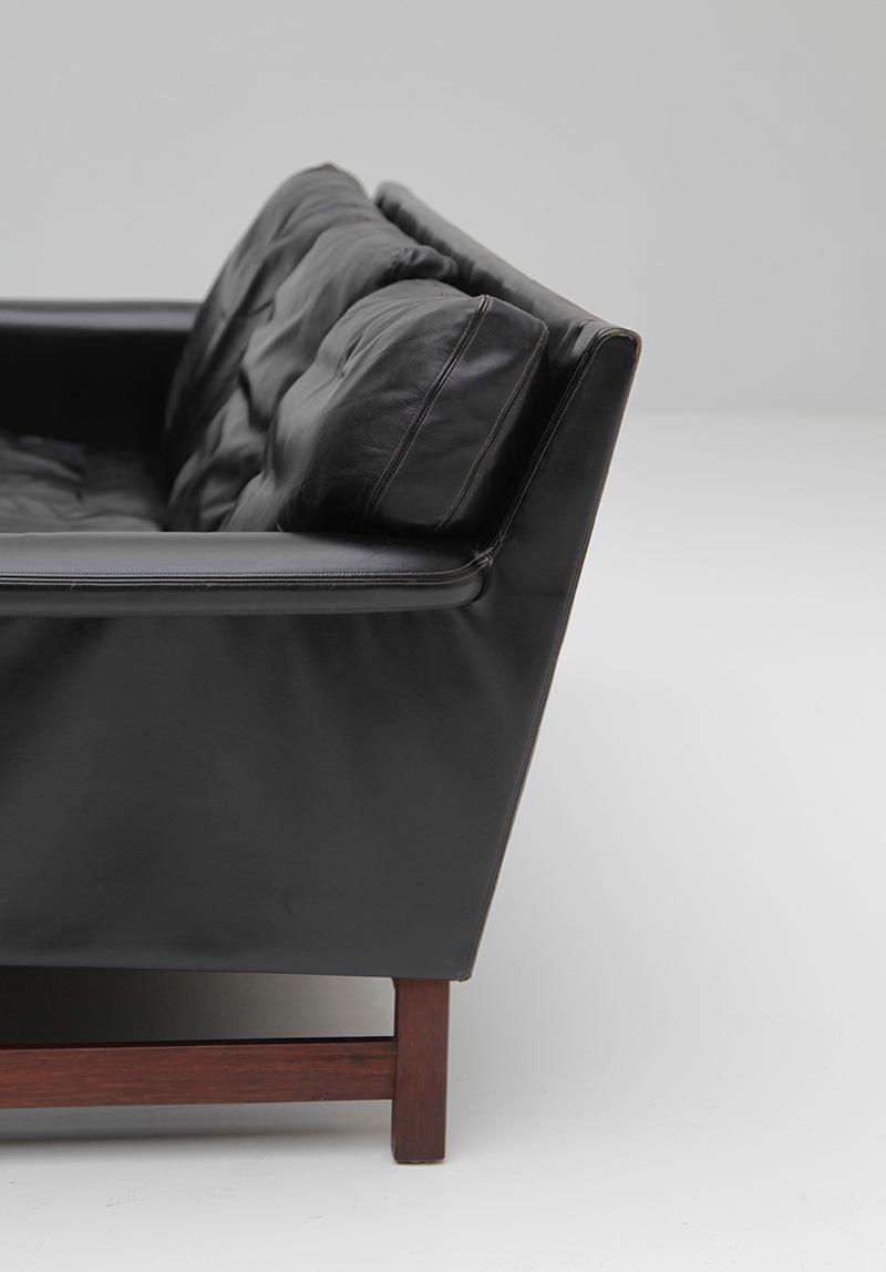 Danish Modern Black Leather Sofa  image 6