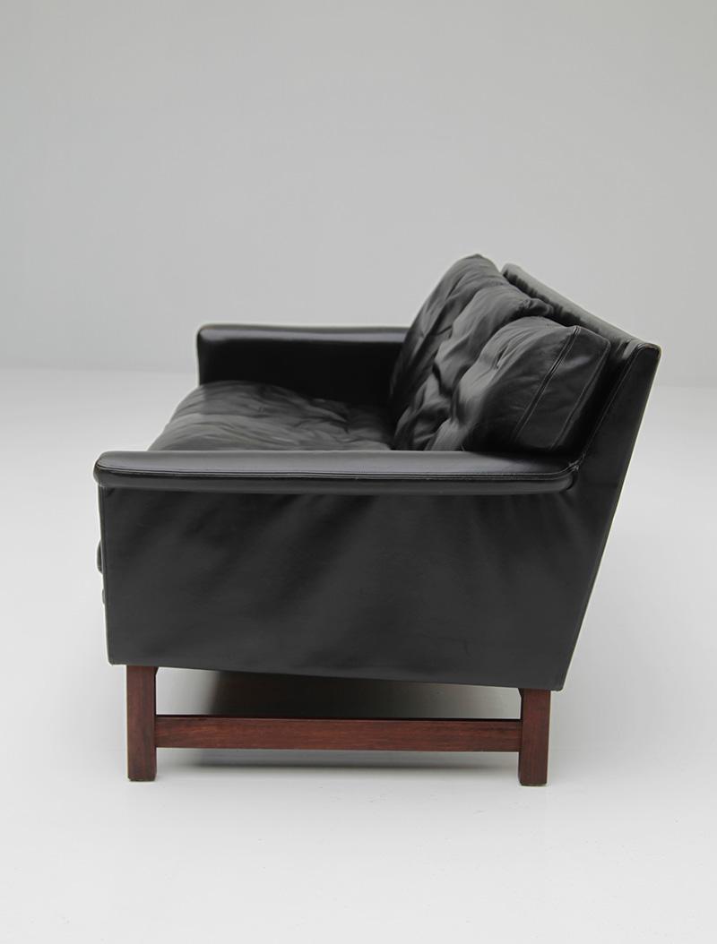 Danish Modern Black Leather Sofa  image 5