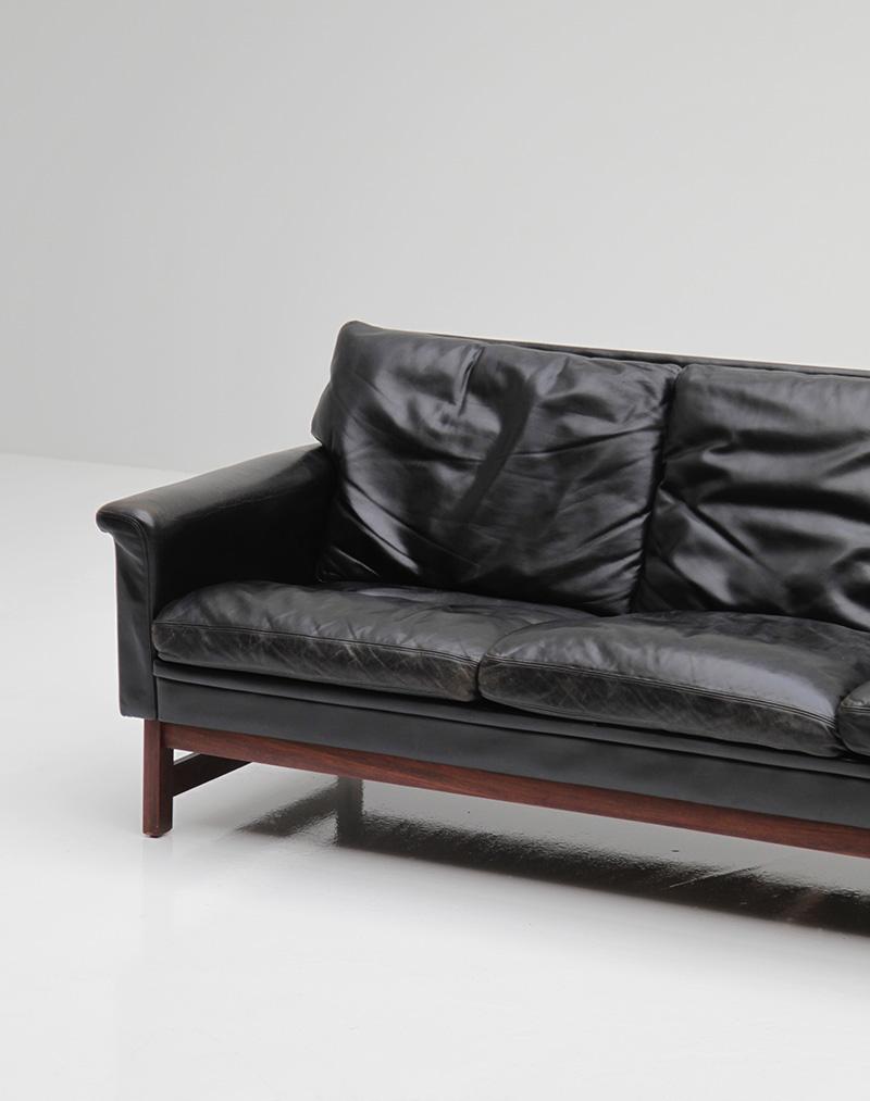 Danish Modern Black Leather Sofa  image 8