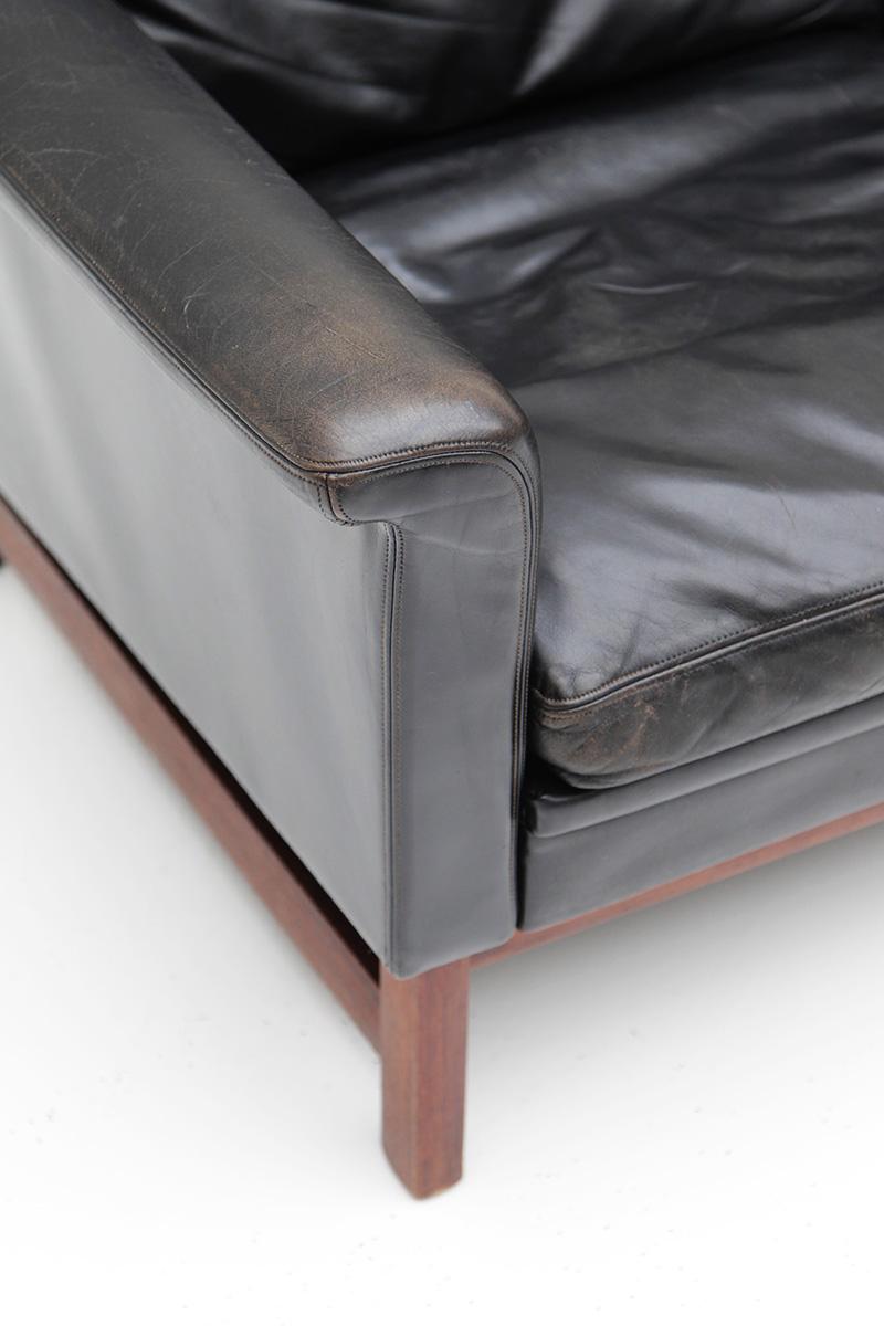 Danish Modern Black Leather Sofa  image 3