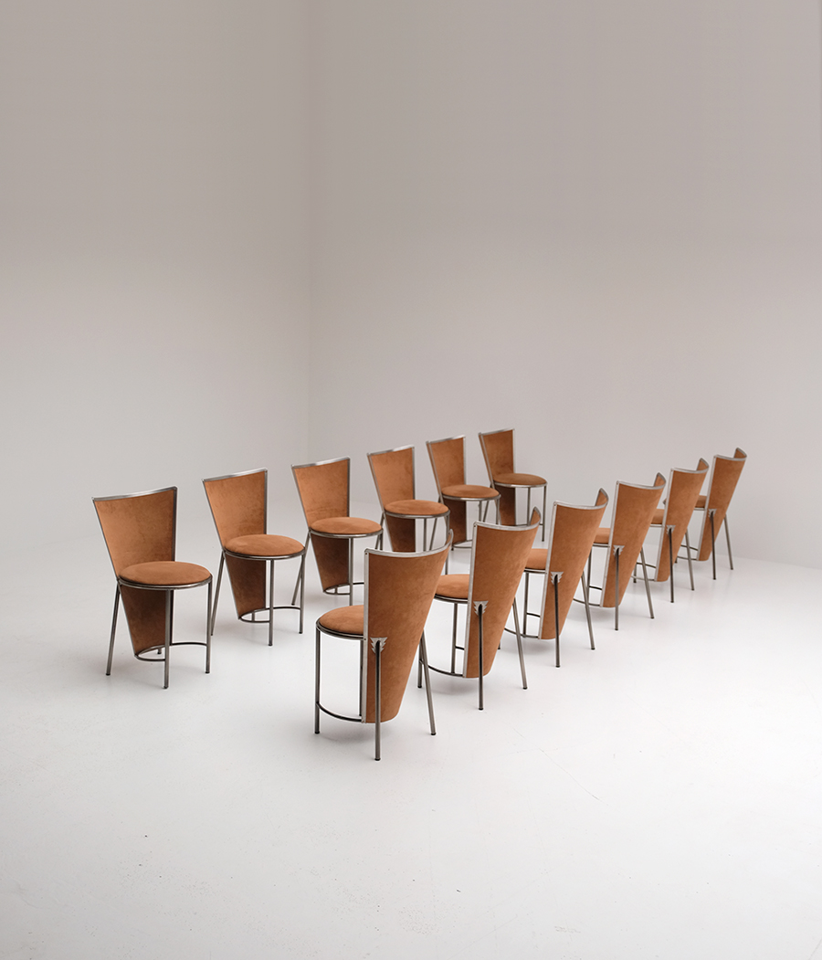 Frans Van Praet 12 Dining Chairs