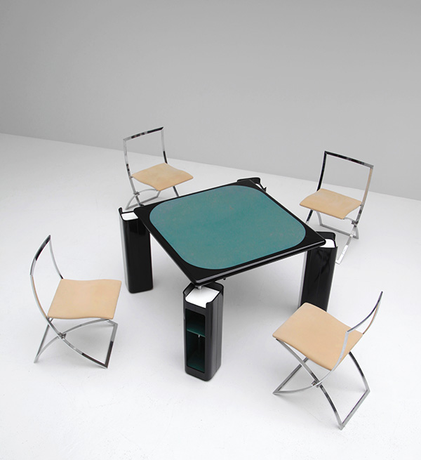 Gaming table in black lacquered wood   image 1