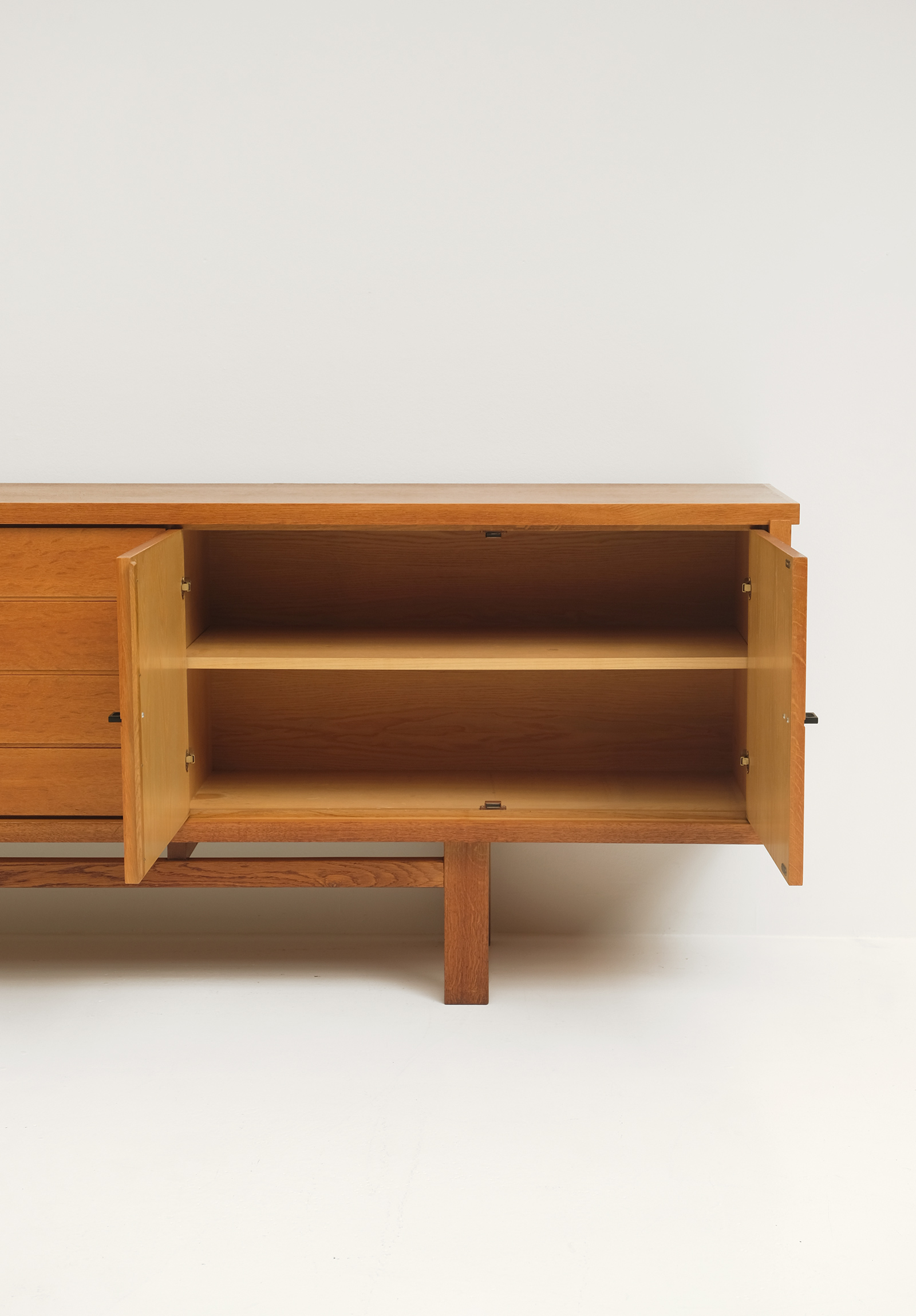 Brutalist Oak Sideboard with Graphic Door Panels