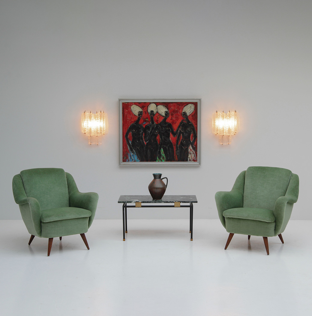 2 Easy Chairs in Green Velour  image 1