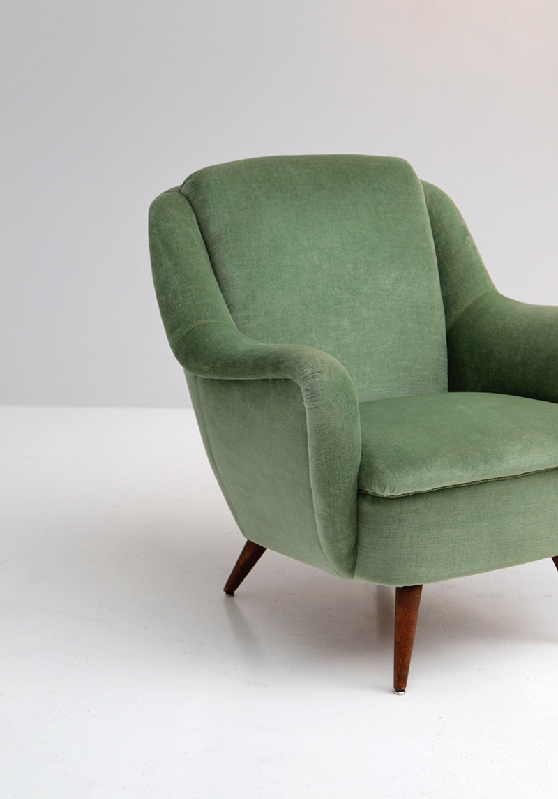 2 Easy Chairs in Green Velour  image 3
