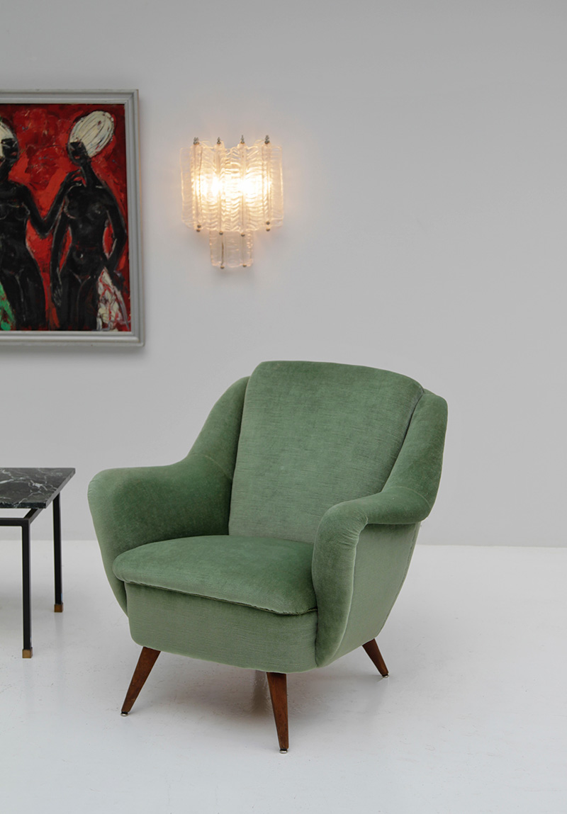 2 Easy Chairs in Green Velour