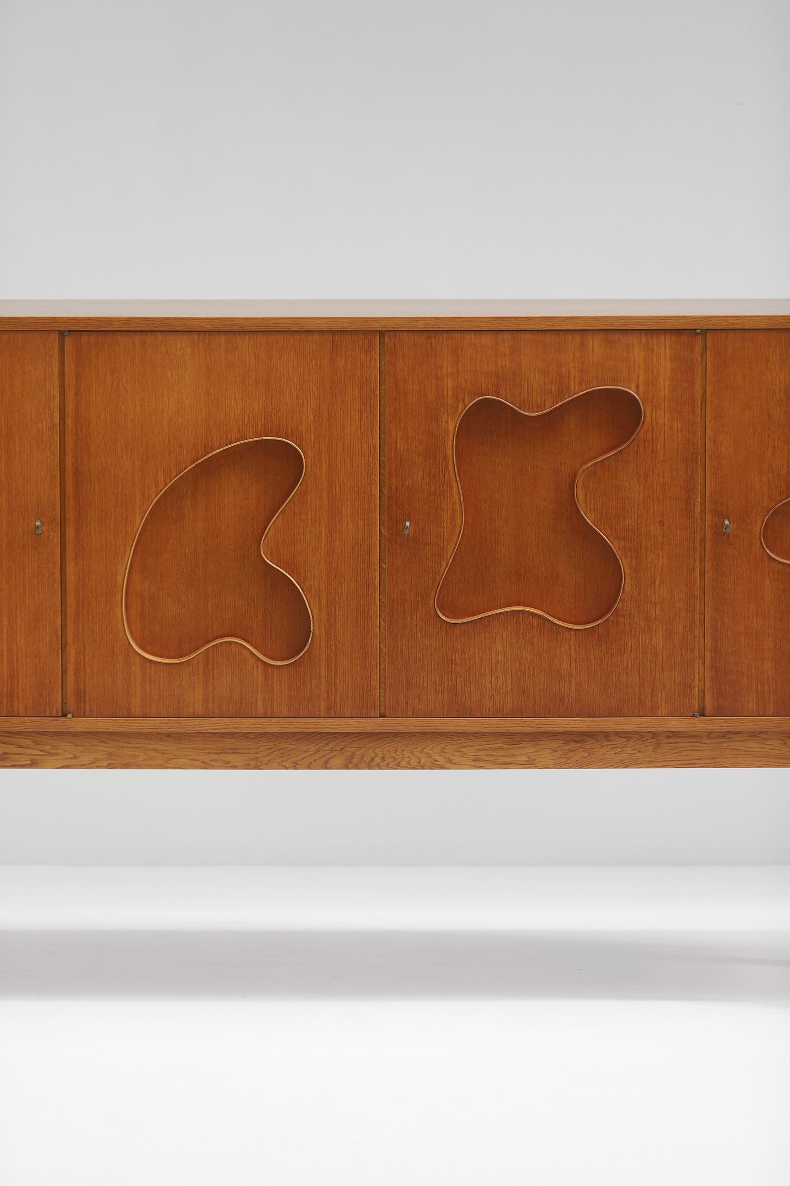 1950s Oak sideboard Free form Shaped Doors image 2