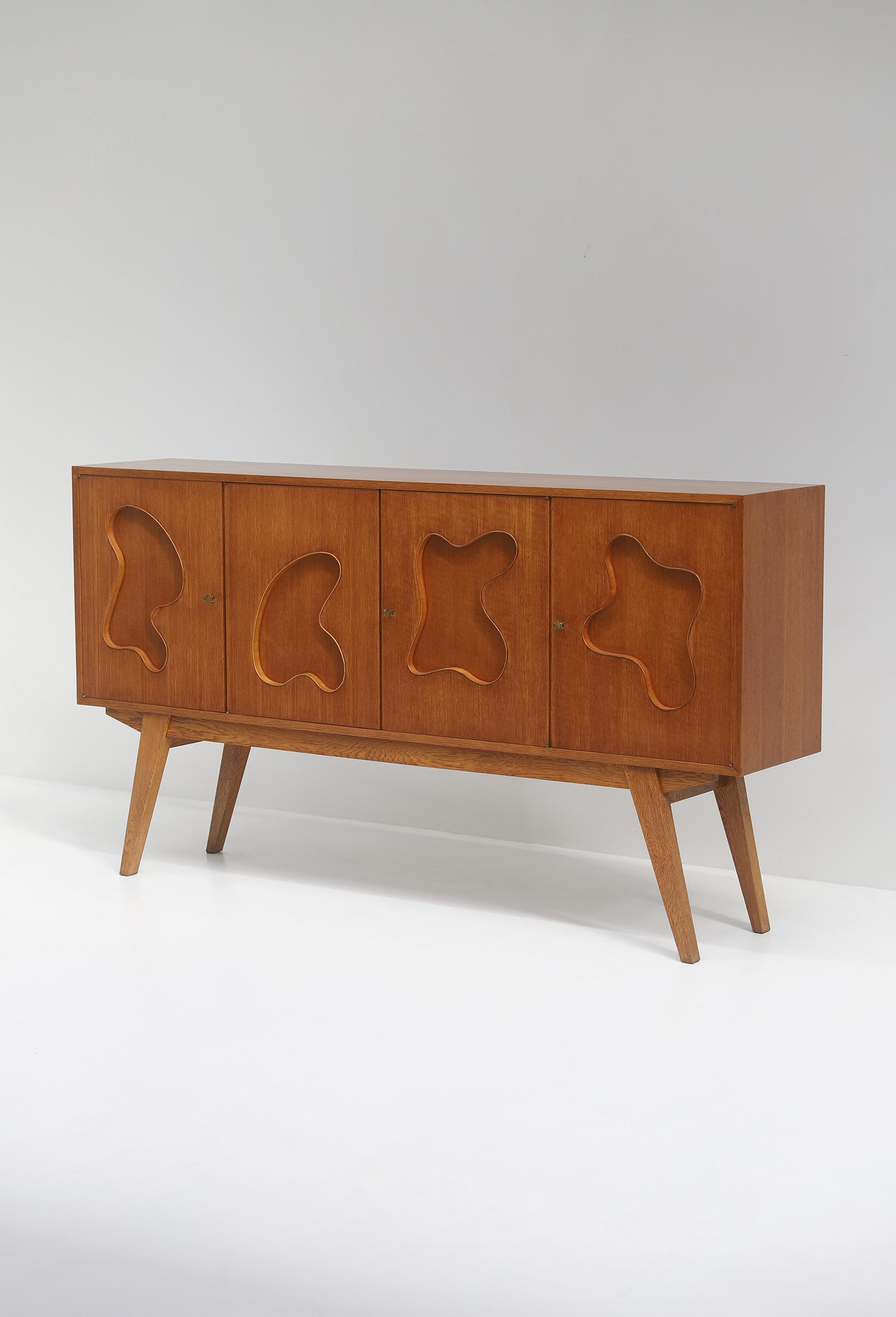 1950s Oak sideboard Free form Shaped Doors image 11