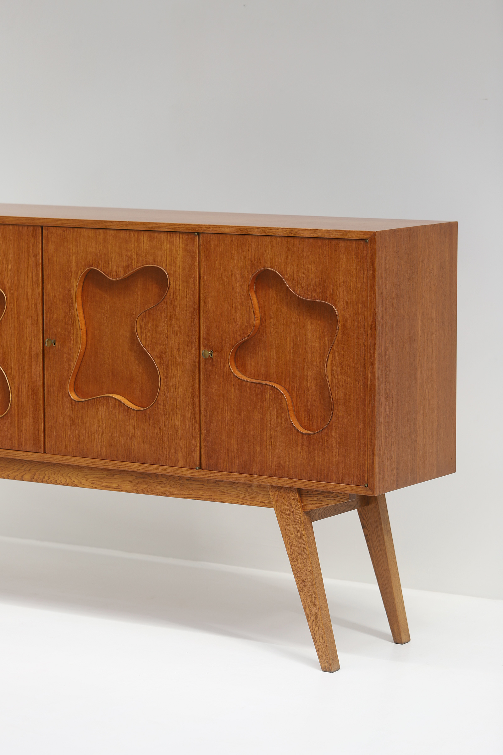 1950s Oak sideboard Free form Shaped Doors image 16