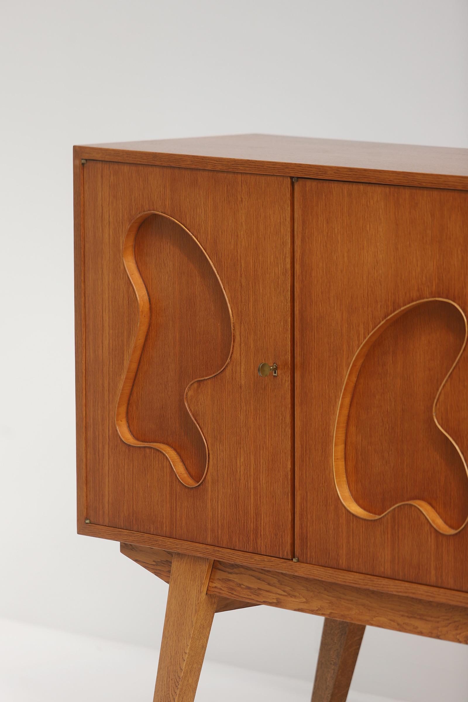 1950s Oak sideboard Free form Shaped Doors image 22