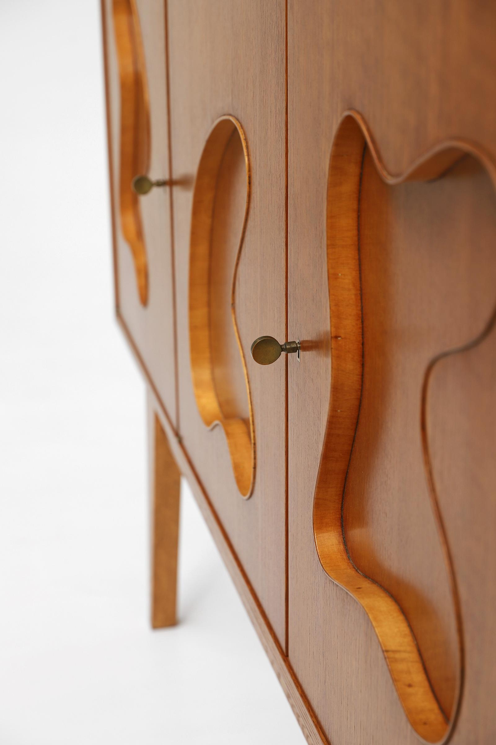 1950s Oak sideboard Free form Shaped Doors image 15