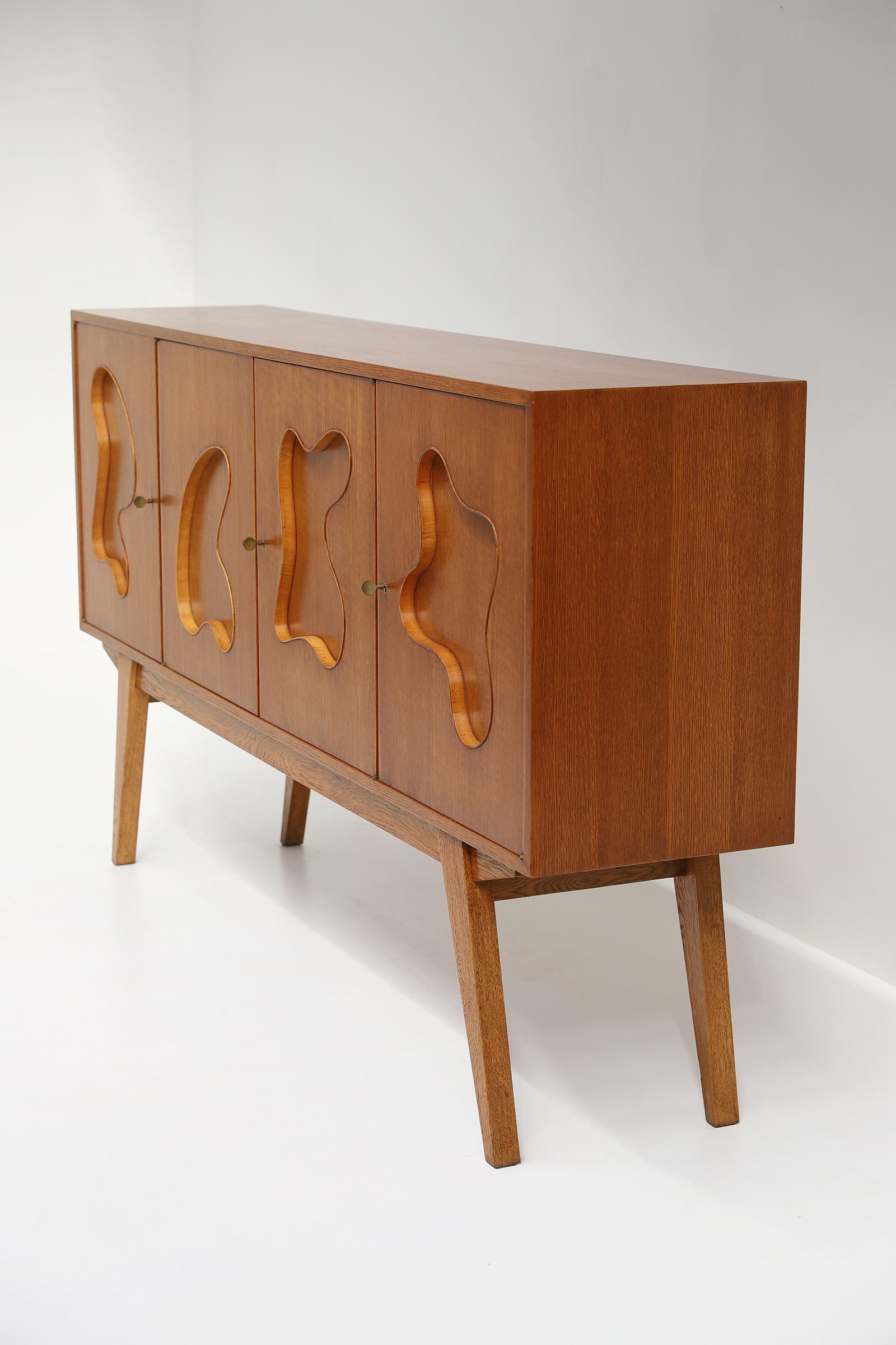 1950s Oak sideboard Free form Shaped Doors image 12