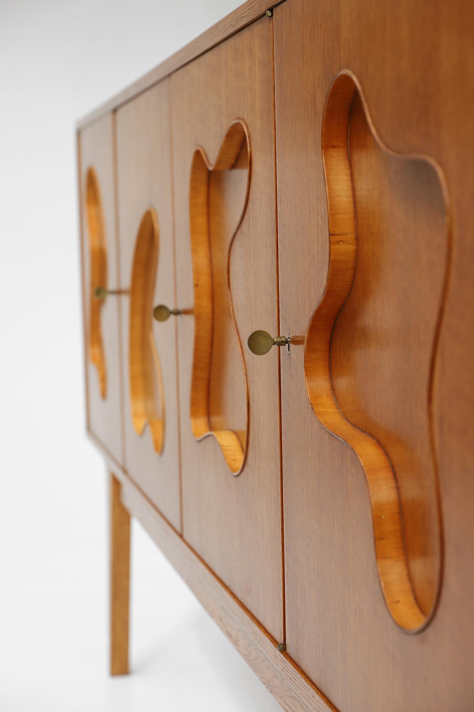 1950s Oak sideboard Free form Shaped Doors image 13