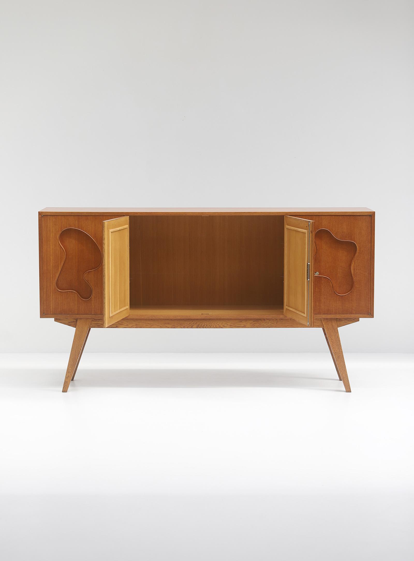 1950s Oak sideboard Free form Shaped Doors image 10