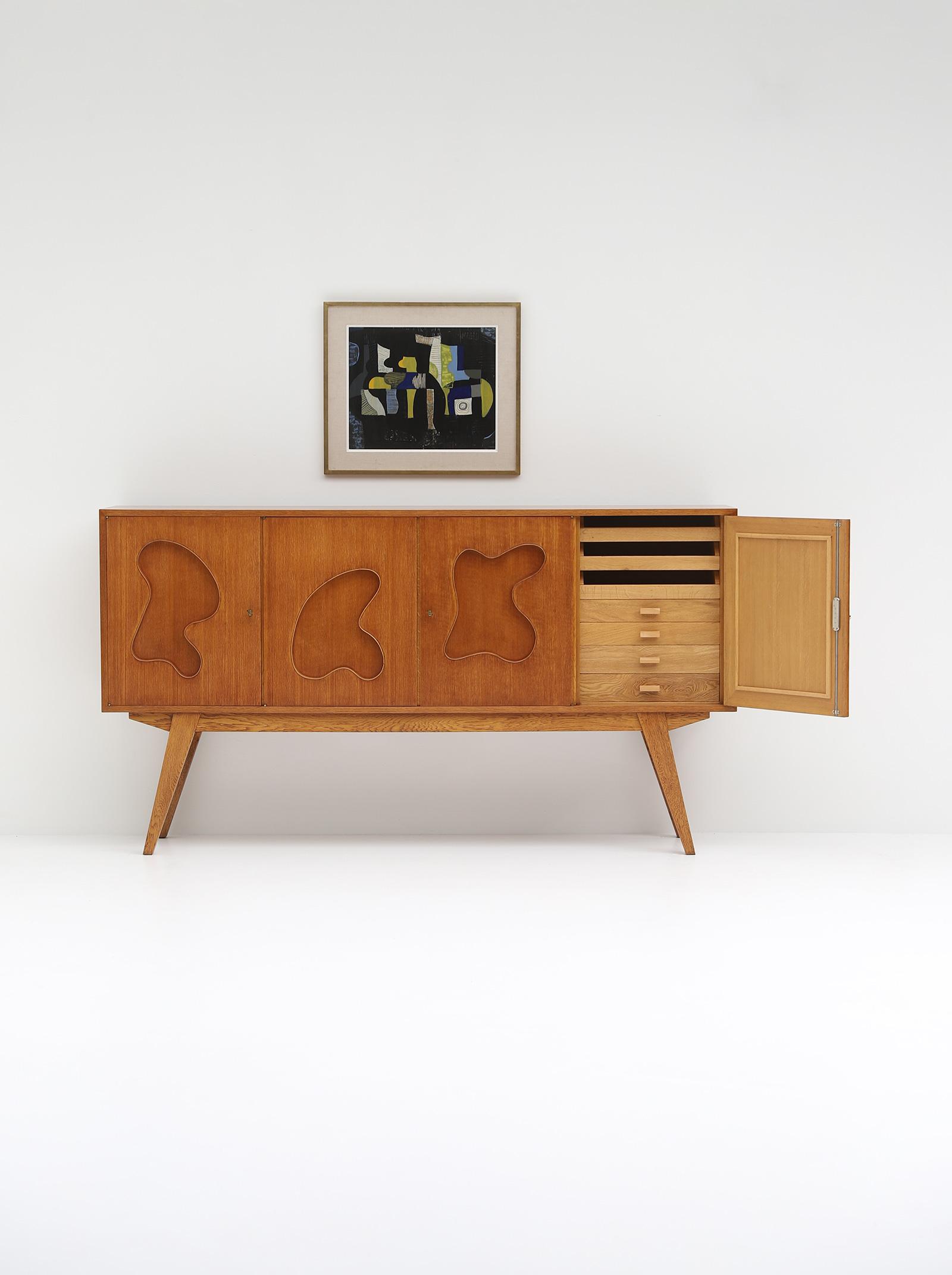 1950s Oak sideboard Free form Shaped Doors image 6