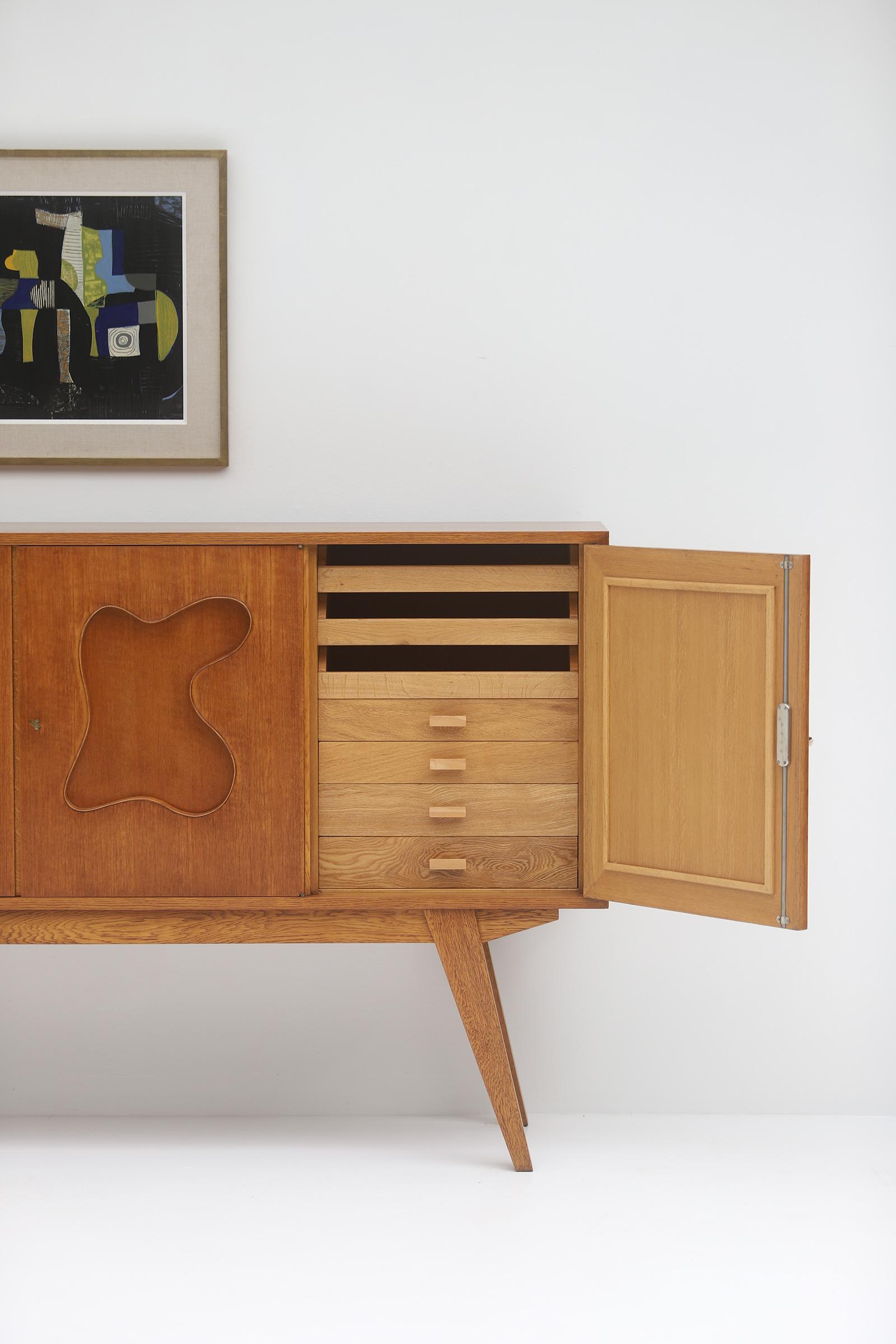 1950s Oak sideboard Free form Shaped Doors image 7