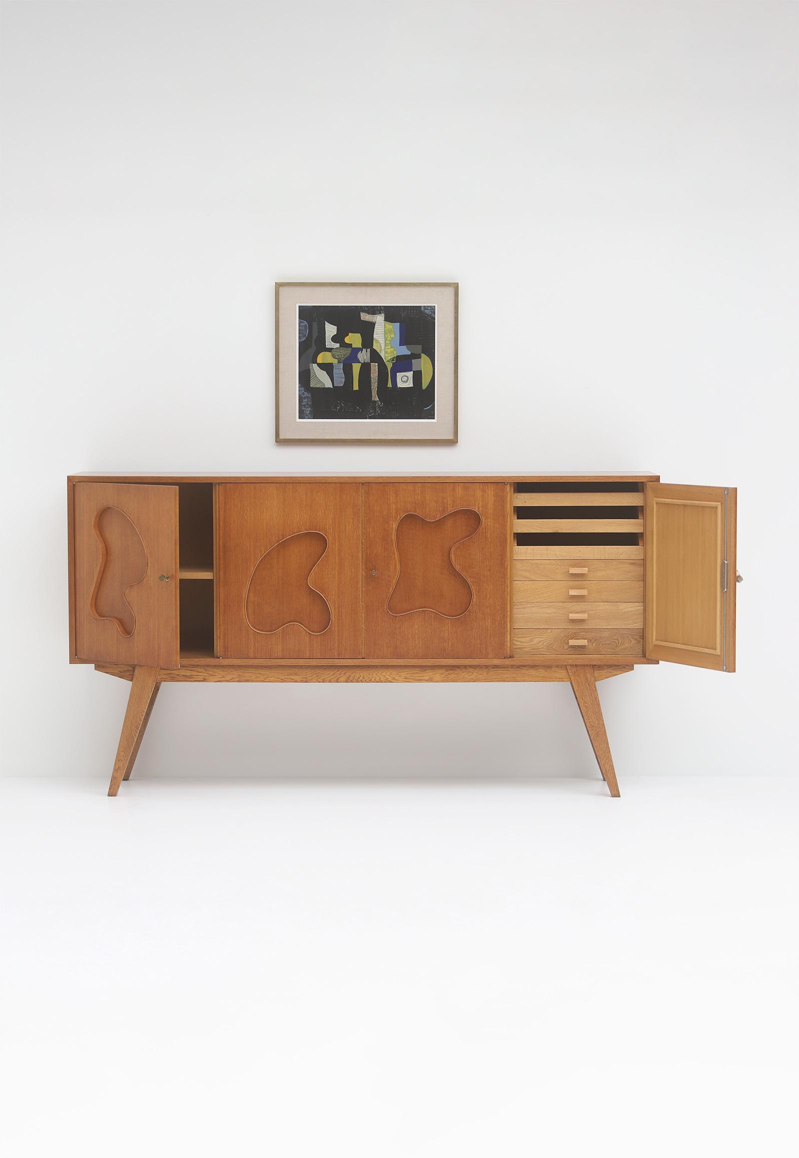1950s Oak sideboard Free form Shaped Doors image 5