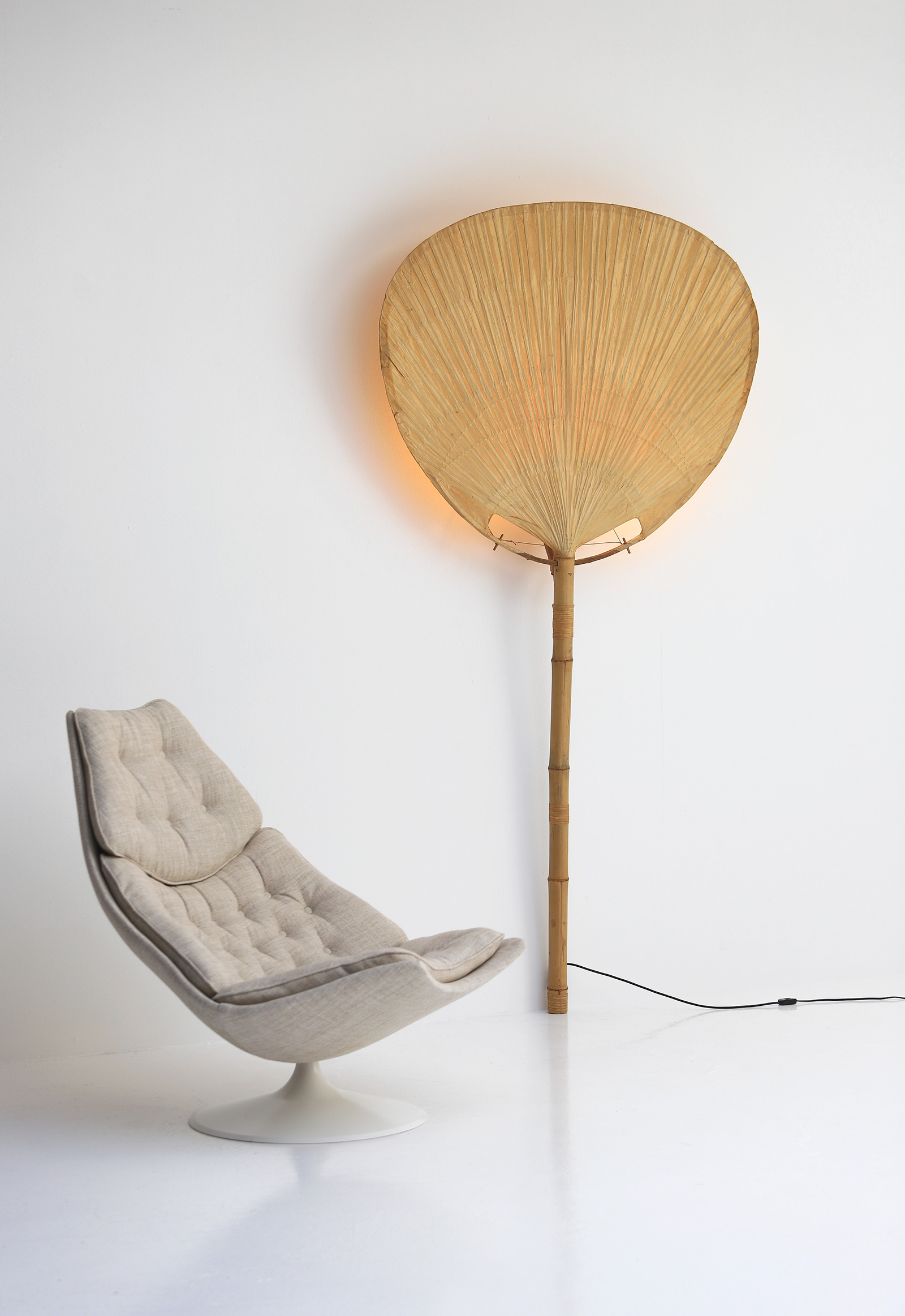 Large Uchiwa Floor Lamp by Ingo Maurer, 1977
