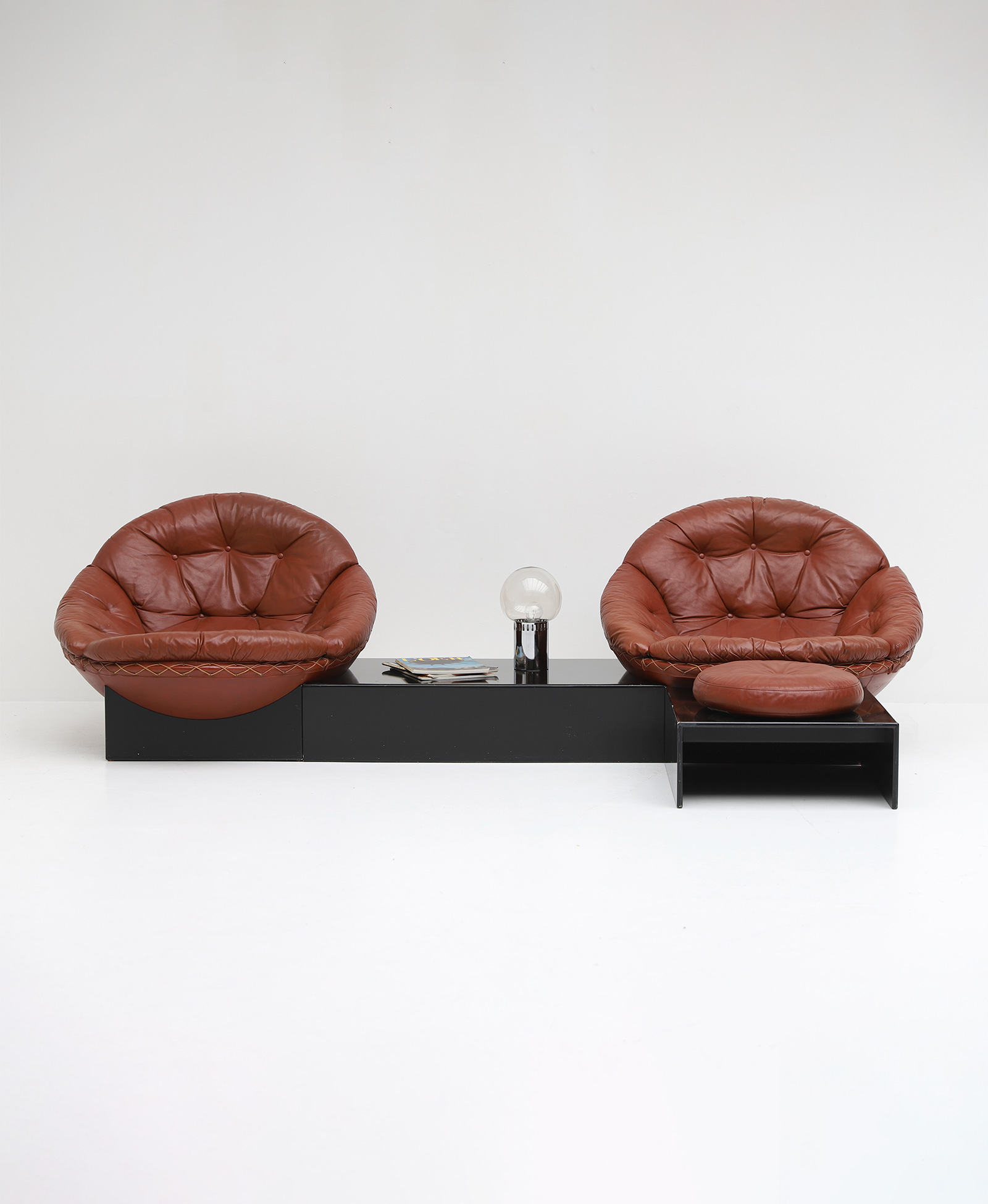 Leather Lounge Chairs by Illum Wikkelso for Ryesberg 1970simage 1