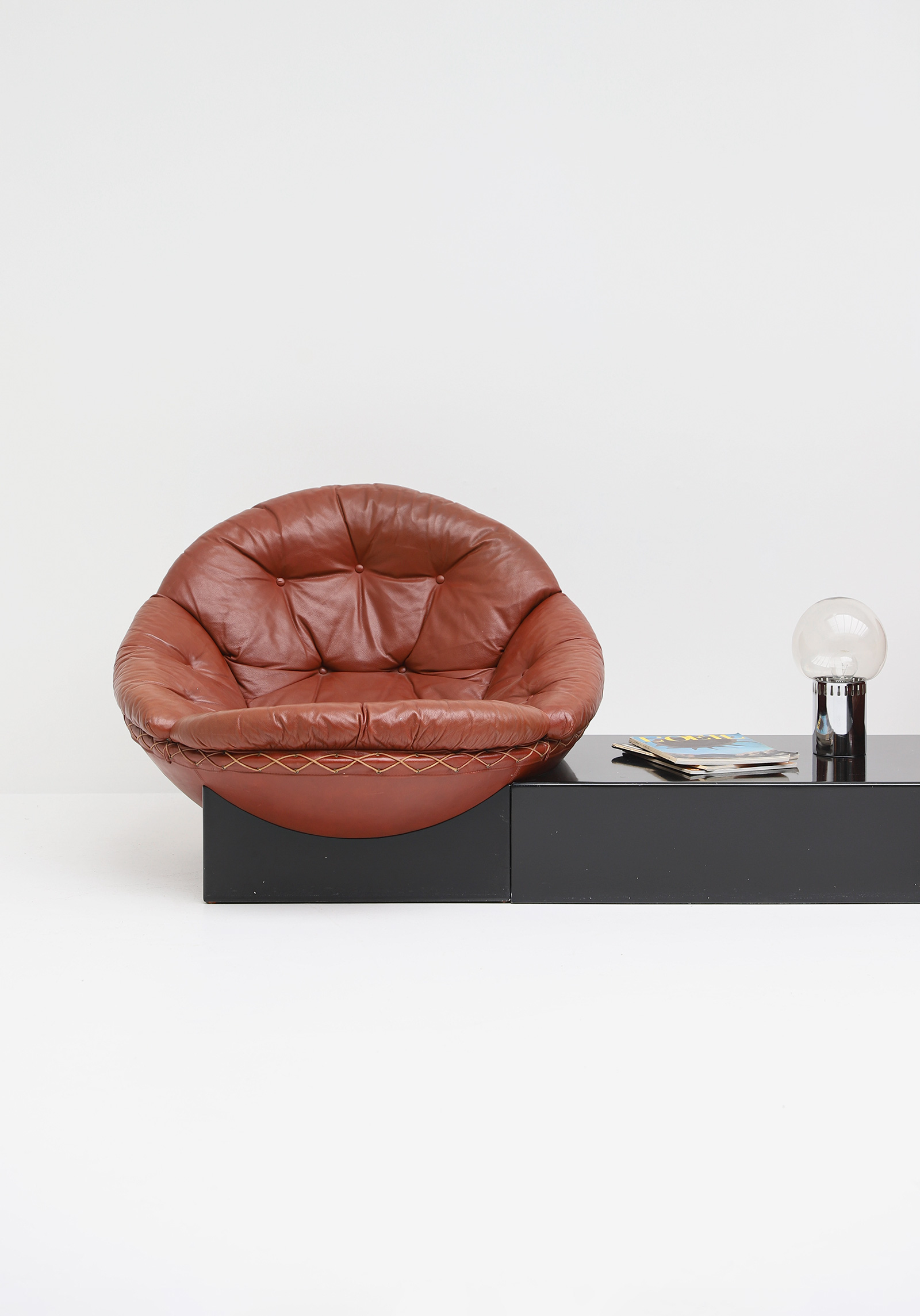 Leather Lounge Chairs by Illum Wikkelso for Ryesberg 1970simage 2