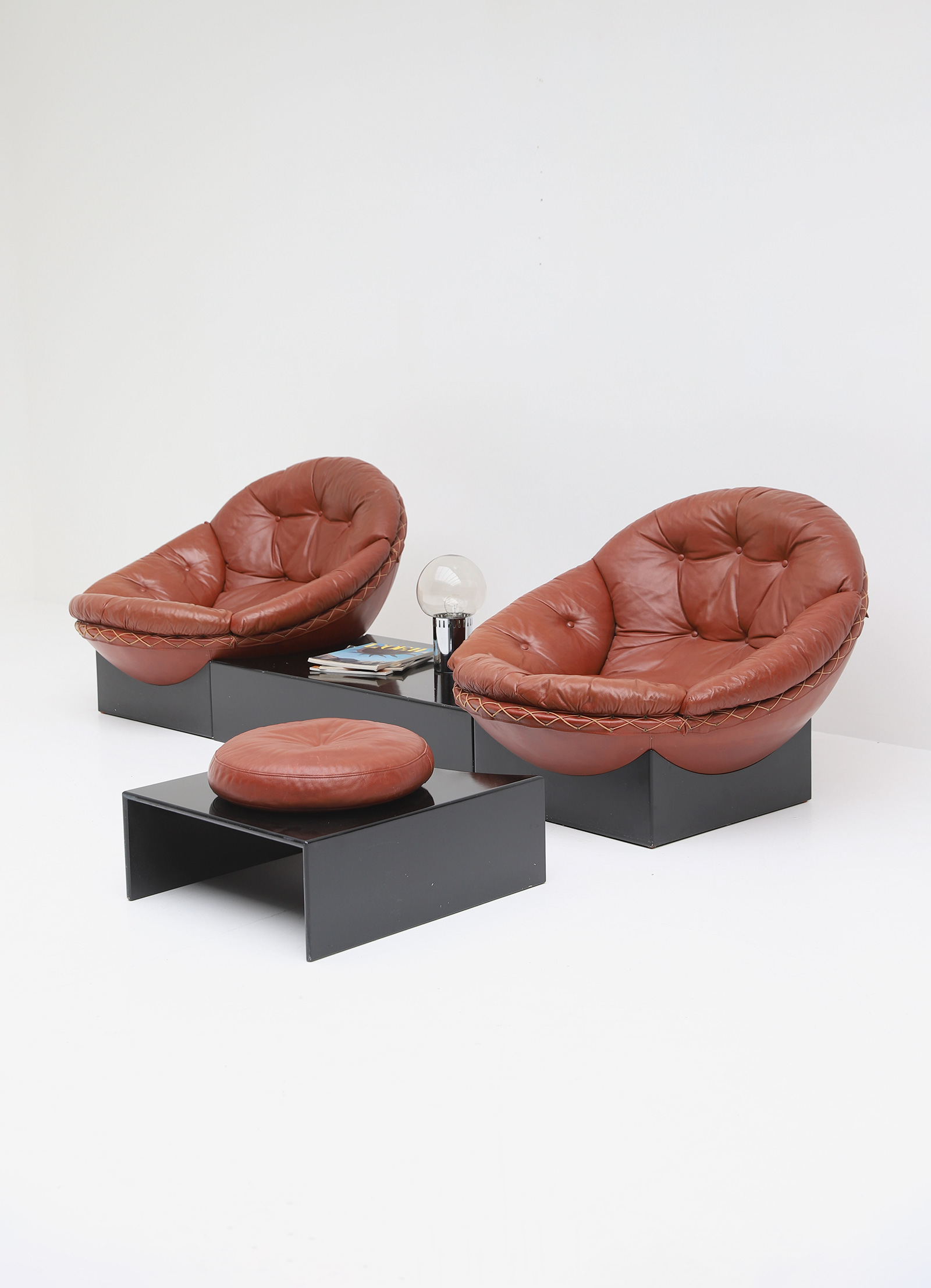 Leather Lounge Chairs by Illum Wikkelso for Ryesberg 1970simage 3