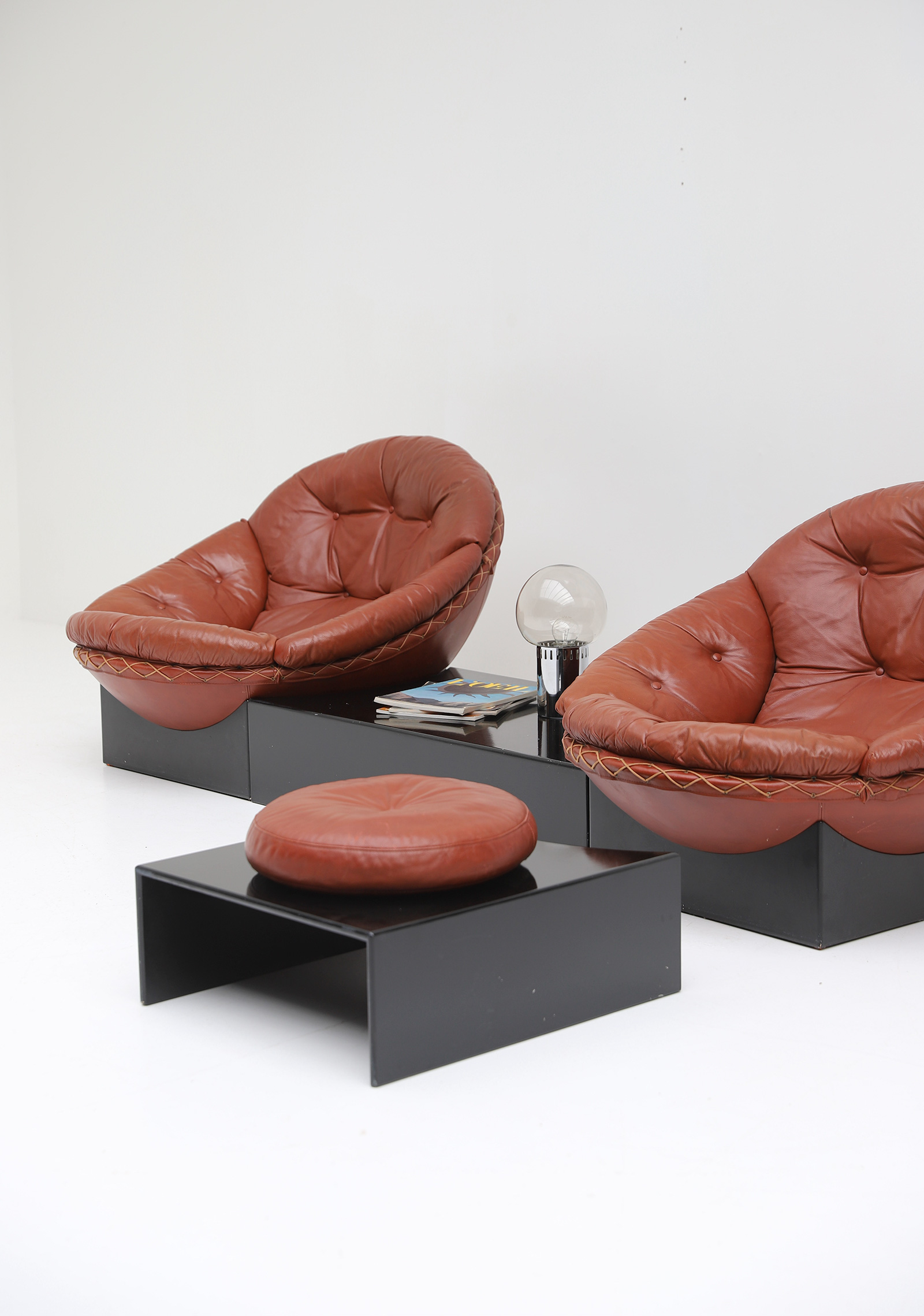 Leather Lounge Chairs by Illum Wikkelso for Ryesberg 1970simage 4