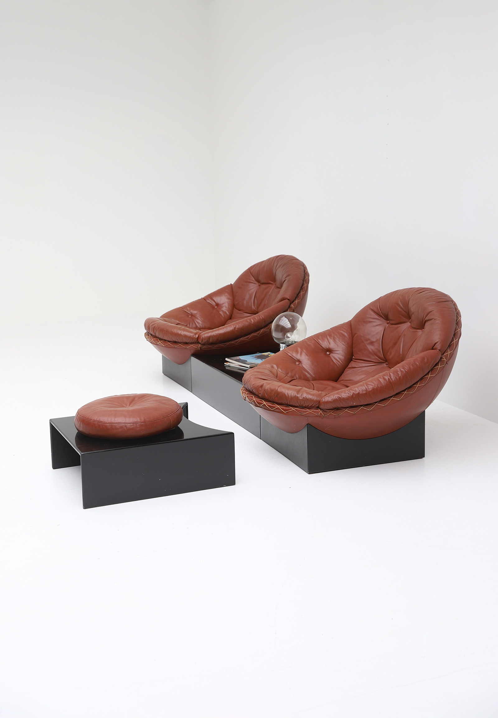 Leather Lounge Chairs by Illum Wikkelso for Ryesberg 1970simage 5