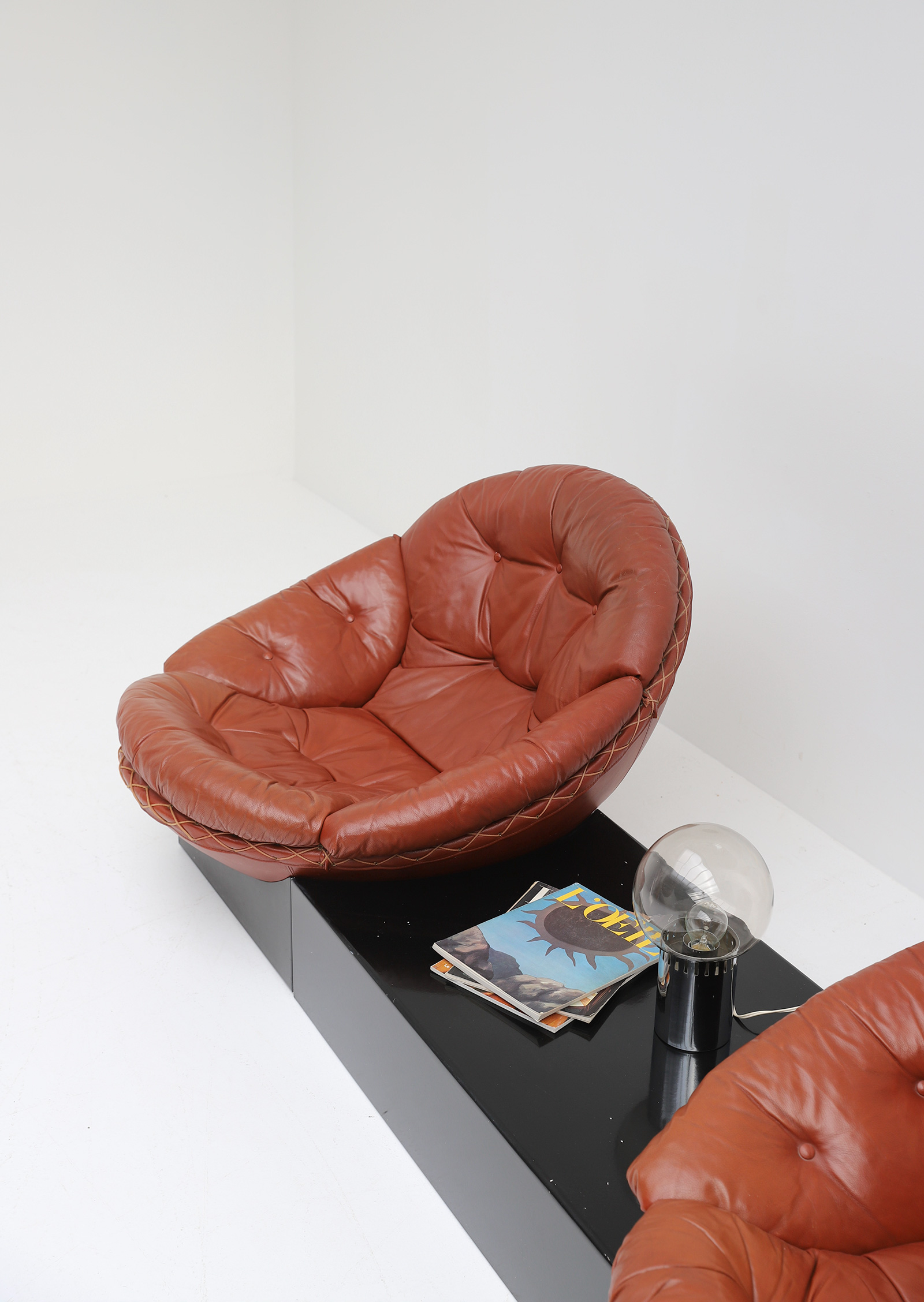 Leather Lounge Chairs by Illum Wikkelso for Ryesberg 1970simage 7
