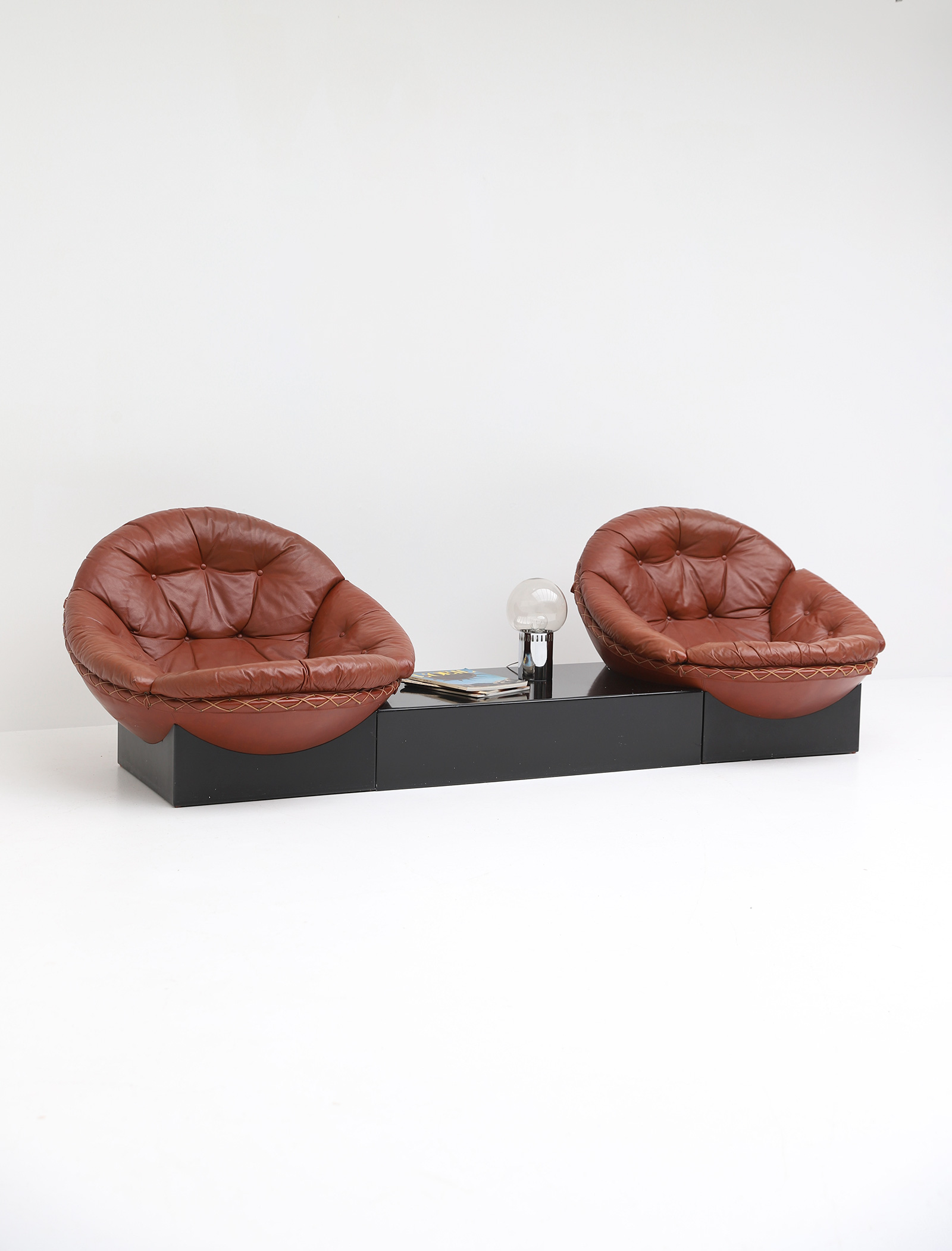 Leather Lounge Chairs by Illum Wikkelso for Ryesberg 1970simage 8