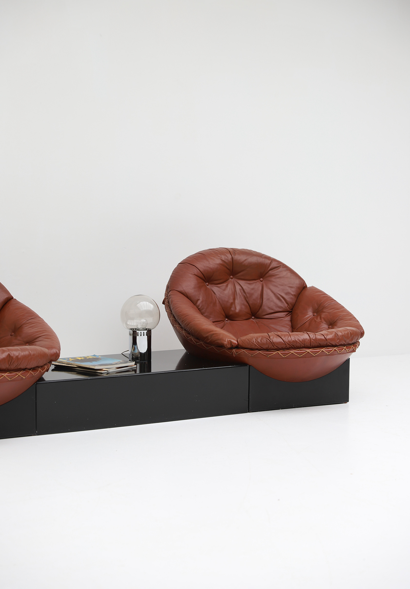 Leather Lounge Chairs by Illum Wikkelso for Ryesberg 1970simage 9