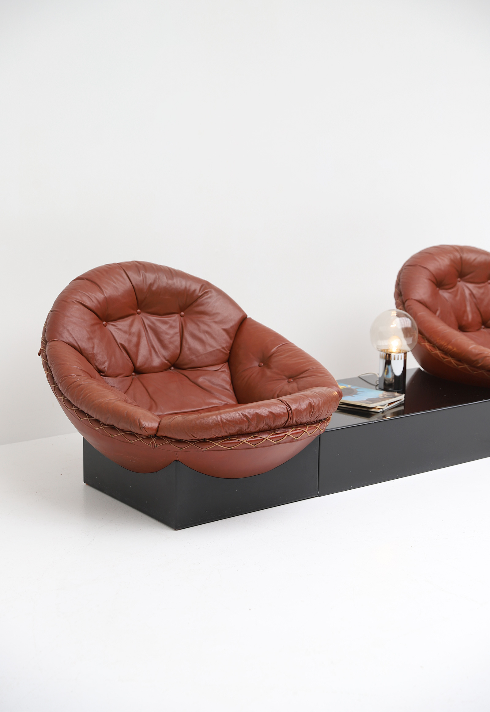 Leather Lounge Chairs by Illum Wikkelso for Ryesberg 1970simage 10