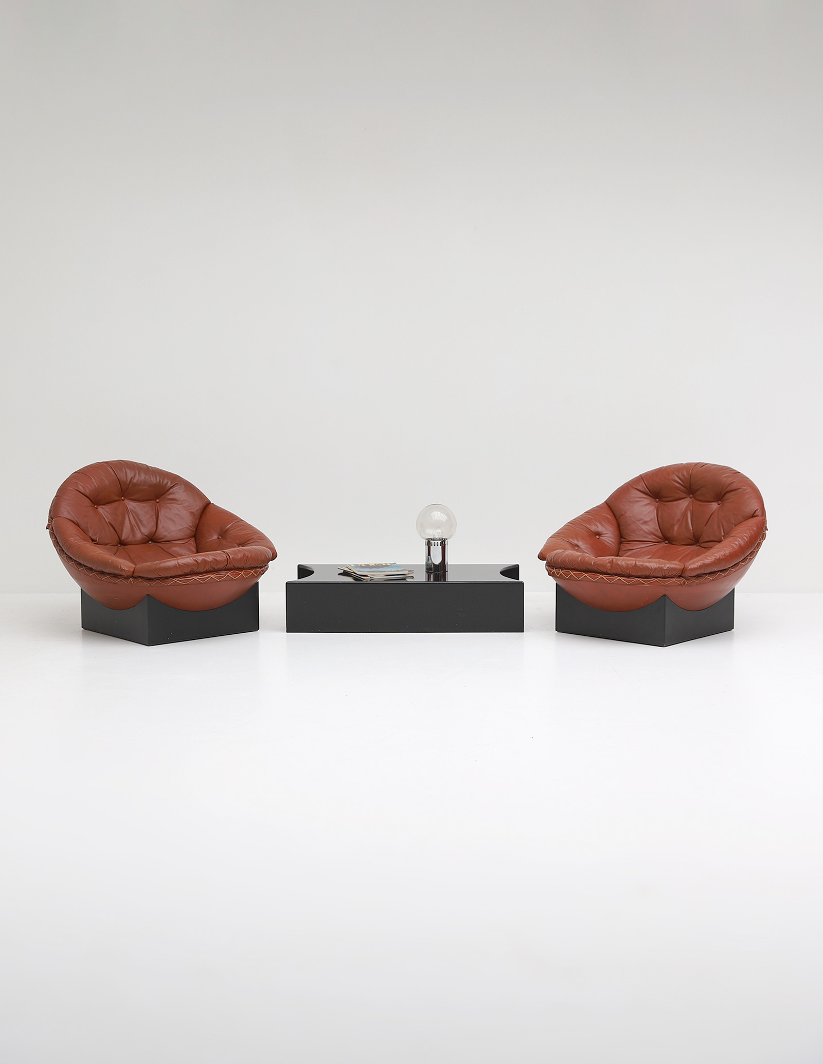 Leather Lounge Chairs by Illum Wikkelso for Ryesberg 1970simage 11