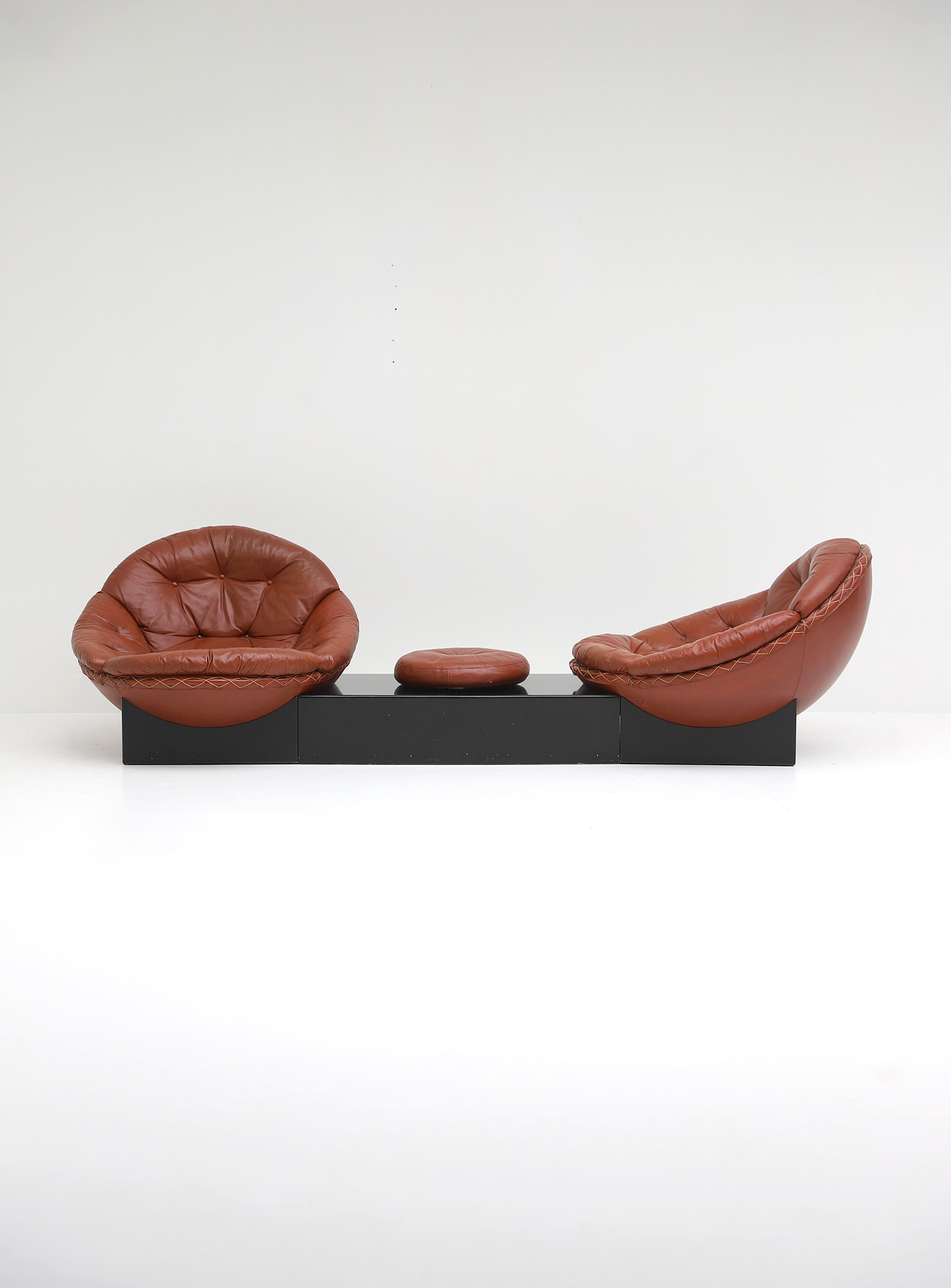 Leather Lounge Chairs by Illum Wikkelso for Ryesberg 1970simage 12