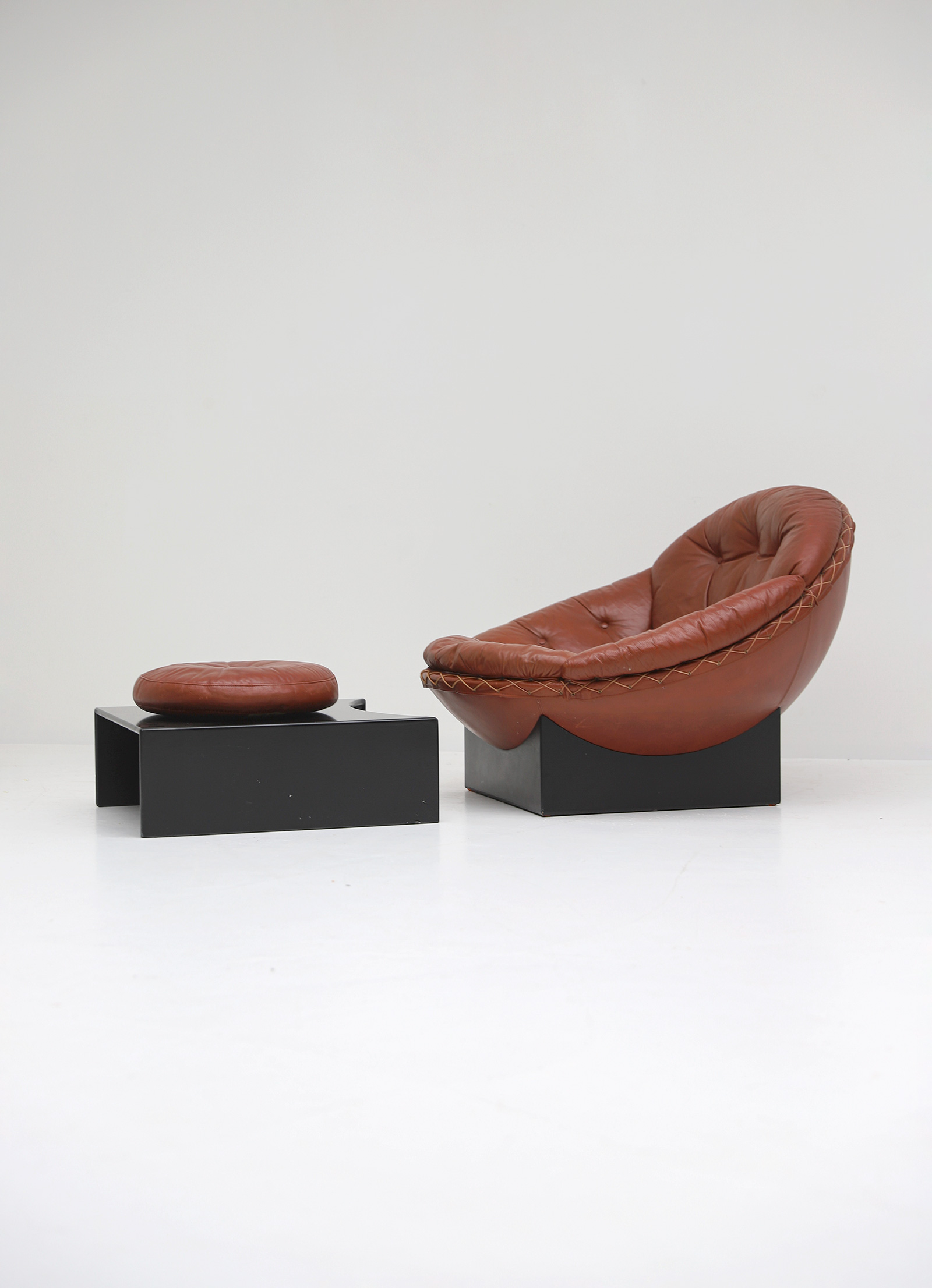 Leather Lounge Chairs by Illum Wikkelso for Ryesberg 1970simage 13