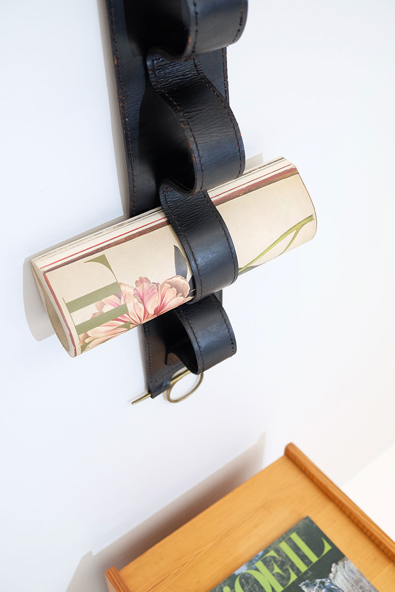 Jacques Adnet Wall Hung Leather Book Strap