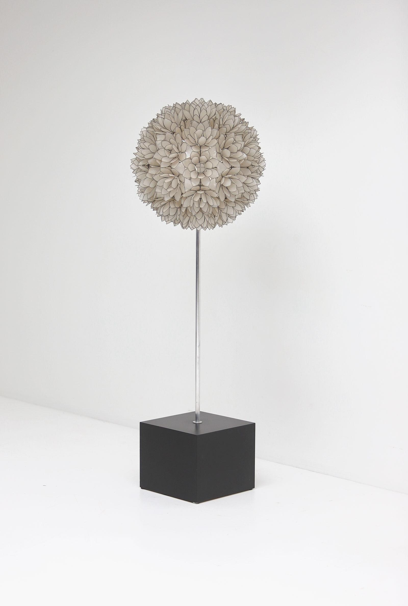 Large Spherical Capiz Lotus Flower Floor Lamp image 2