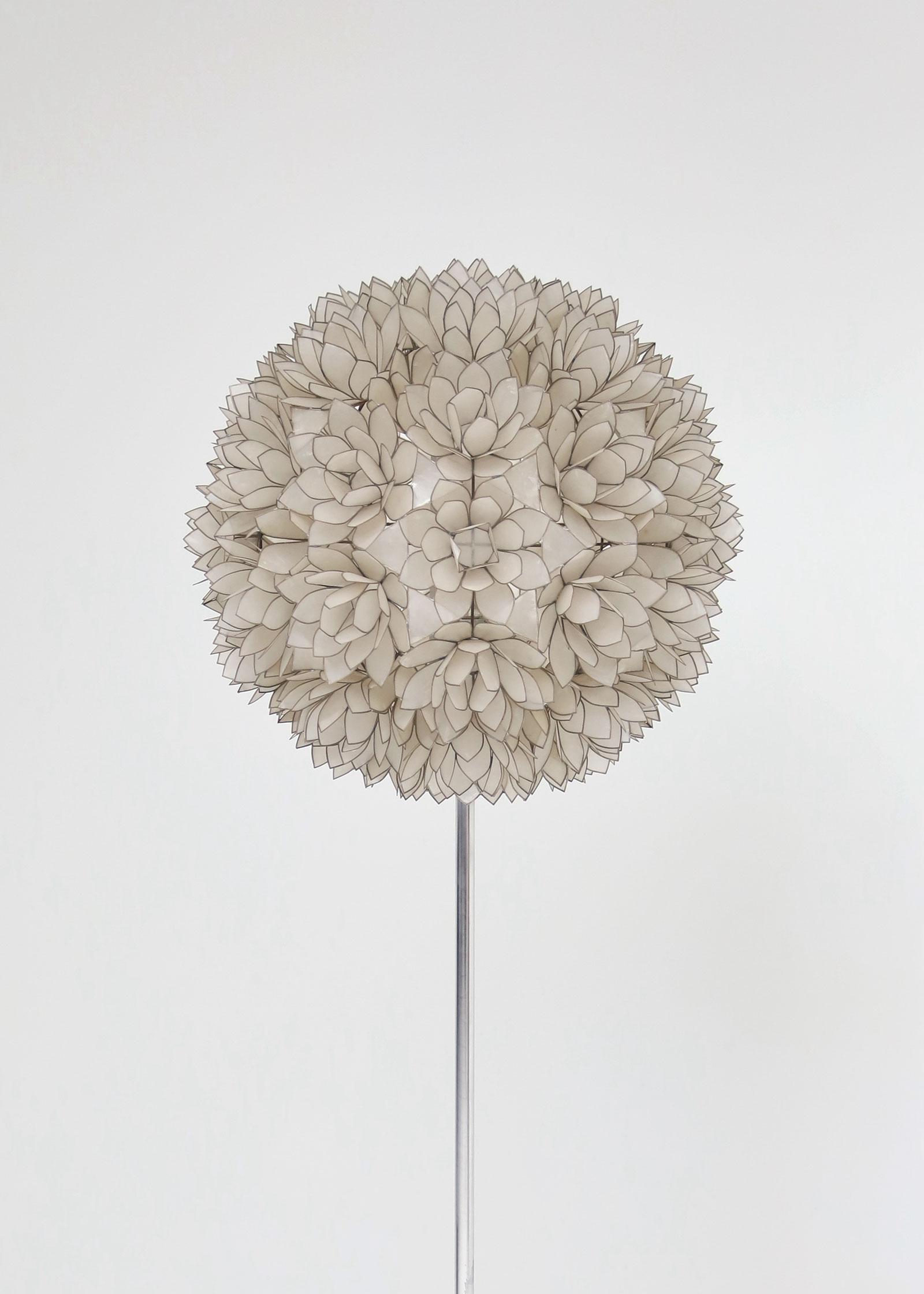 Large Spherical Capiz Lotus Flower Floor Lamp image 3