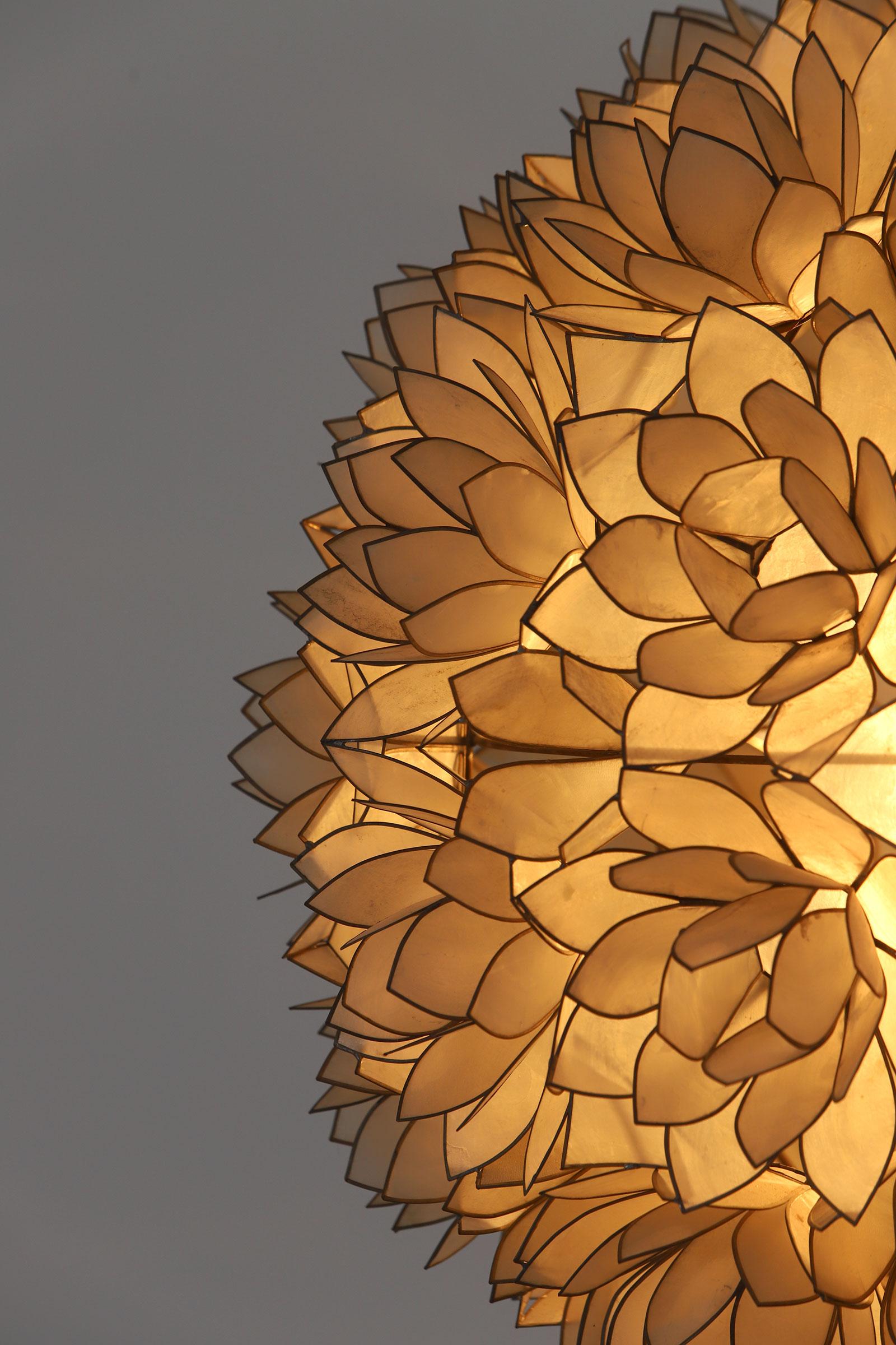 Large Spherical Capiz Lotus Flower Floor Lamp image 5