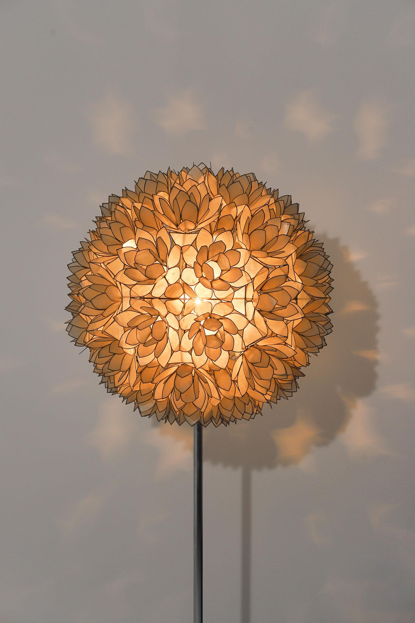 Large Spherical Capiz Lotus Flower Floor Lamp image 6