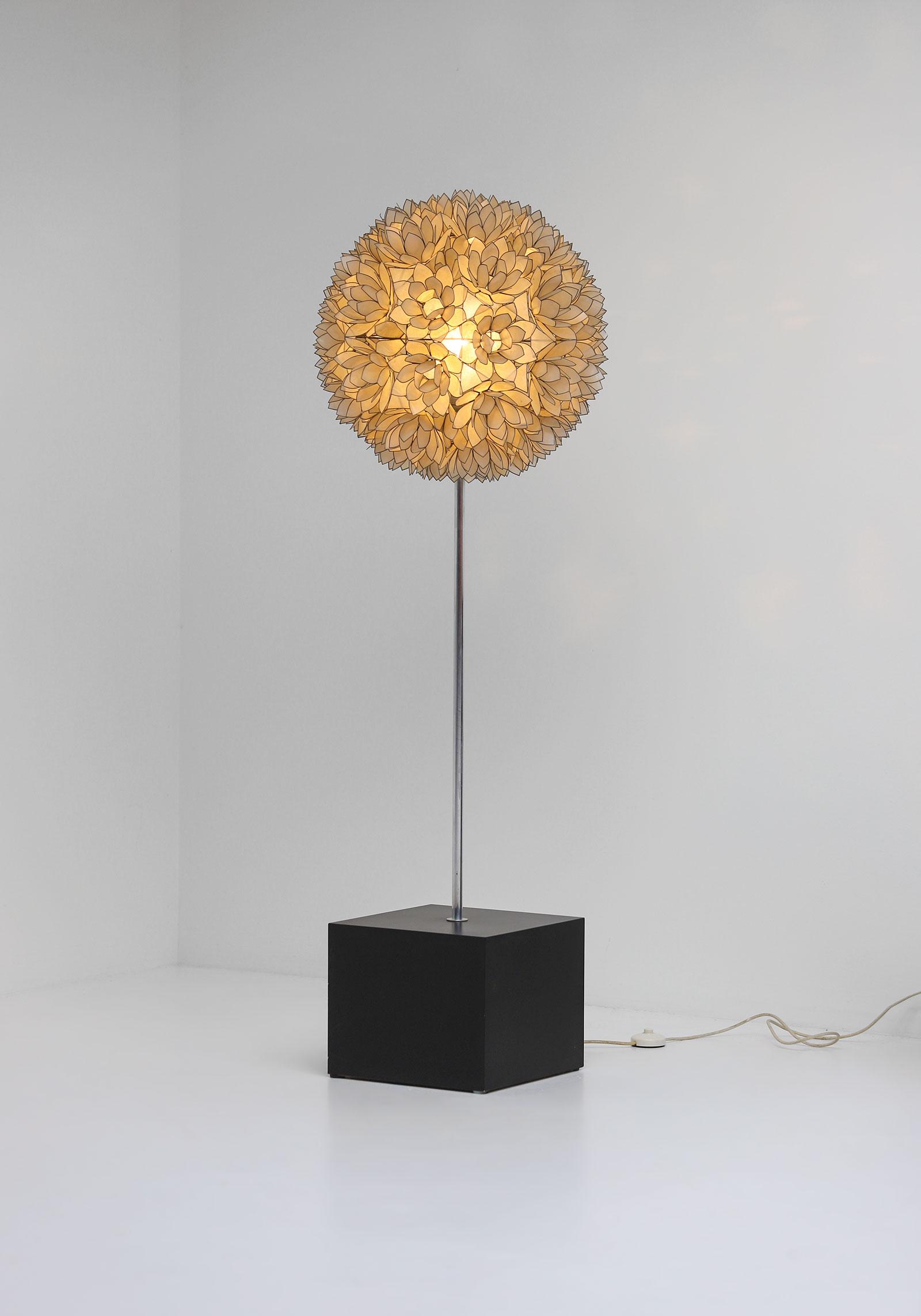 Large Spherical Capiz Lotus Flower Floor Lamp image 4