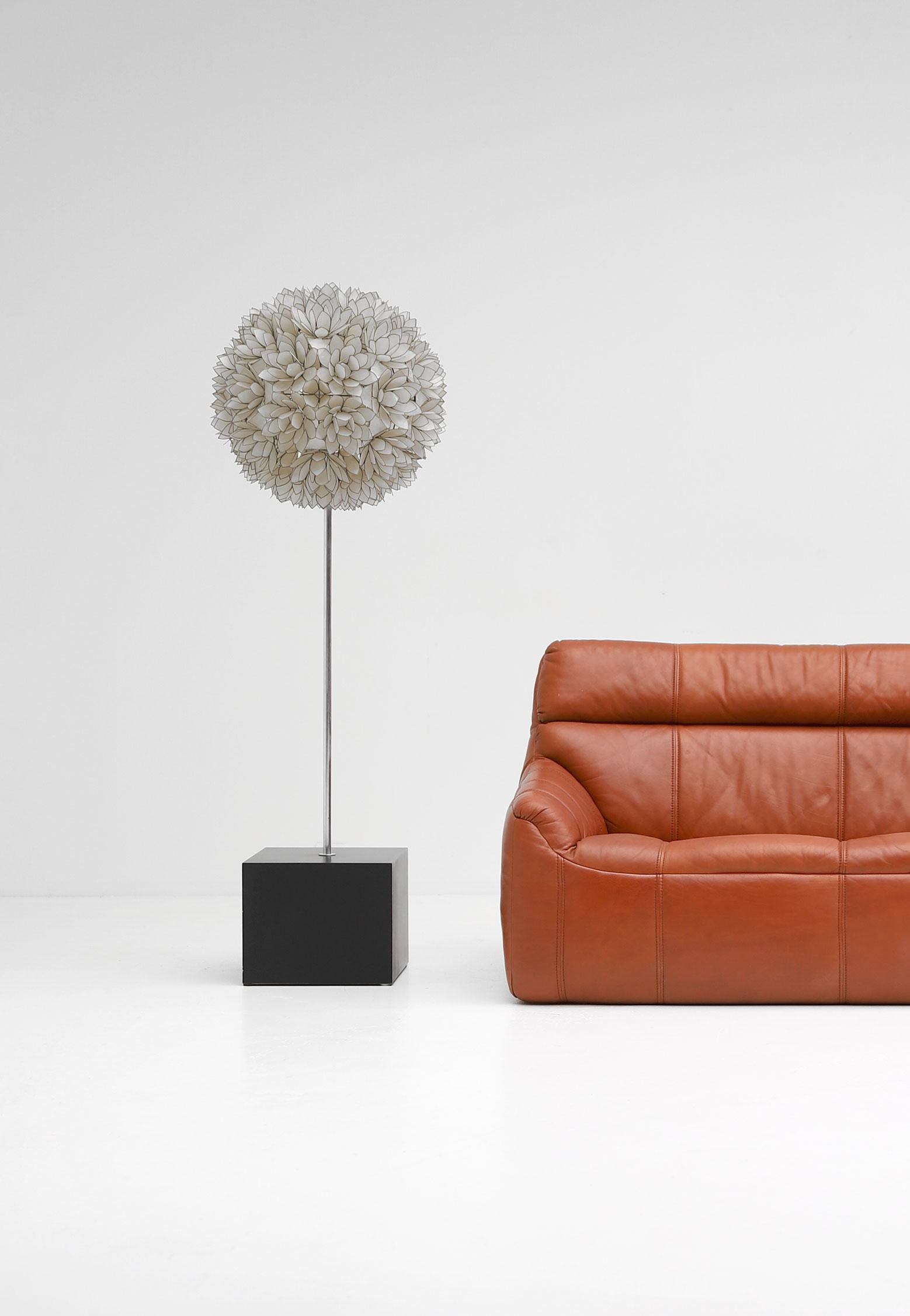 Large Spherical Capiz Lotus Flower Floor Lamp image 1